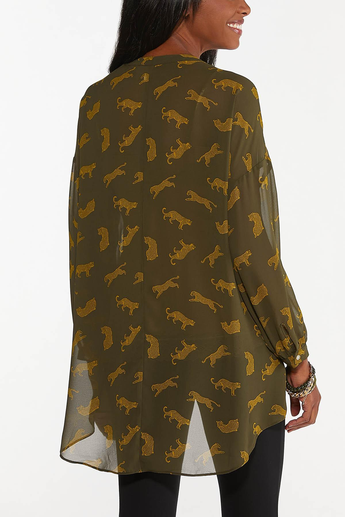 Plus Size Sheer Cheetah Tunic (Item #44674760)