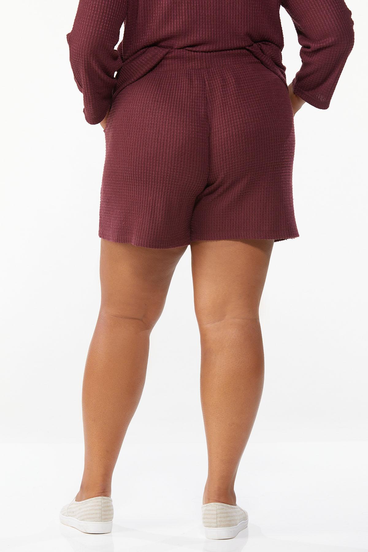 Plus Size Wine Waffle Shorts (Item #44674916)