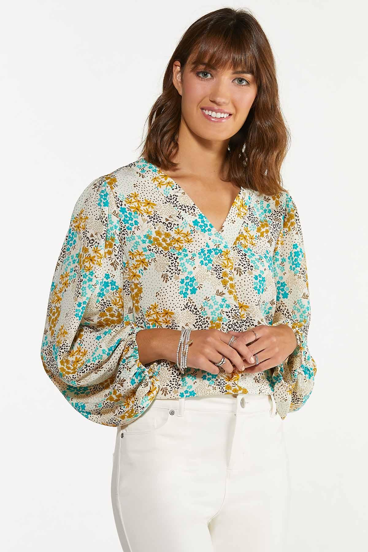 Plus Size Floral Fields Balloon Sleeve Top (Item #44675049)
