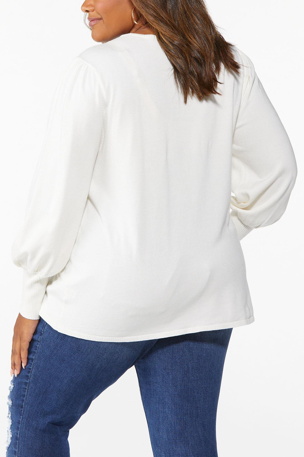 Plus Size Balloon Sleeve Sweater (Item #44675197)