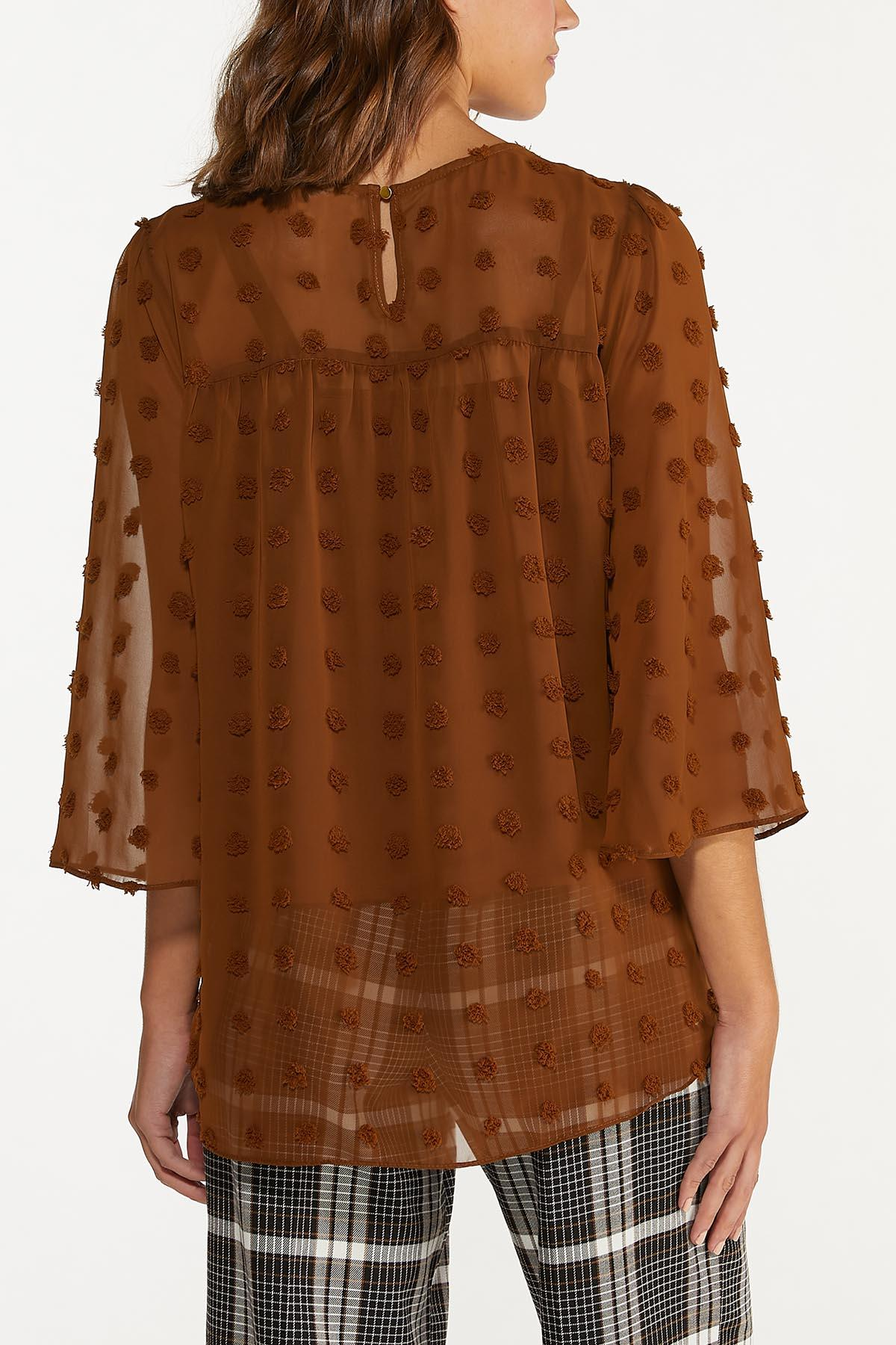 Plus Size Cocoa Textured Dot Top (Item #44675322)