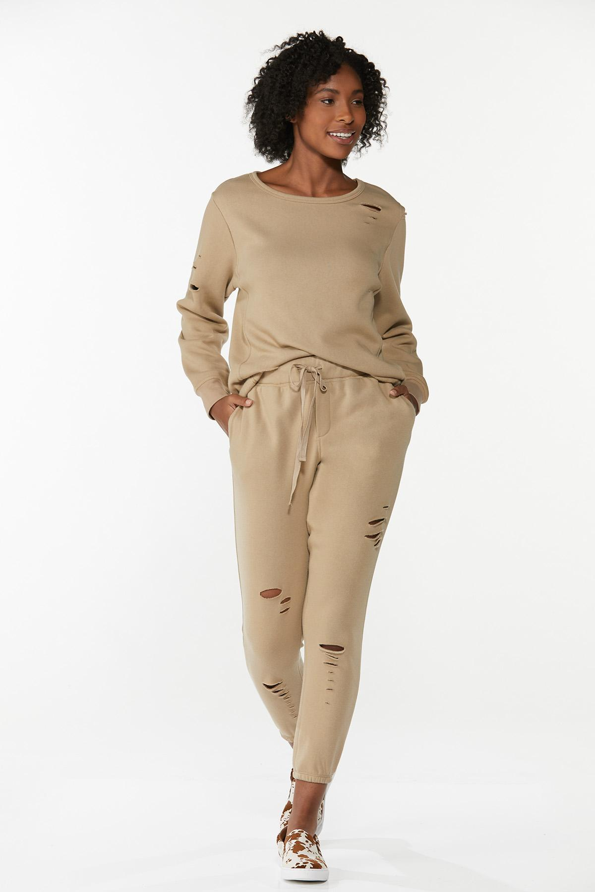 Plus Size Distressed Sweatshirt (Item #44675394)