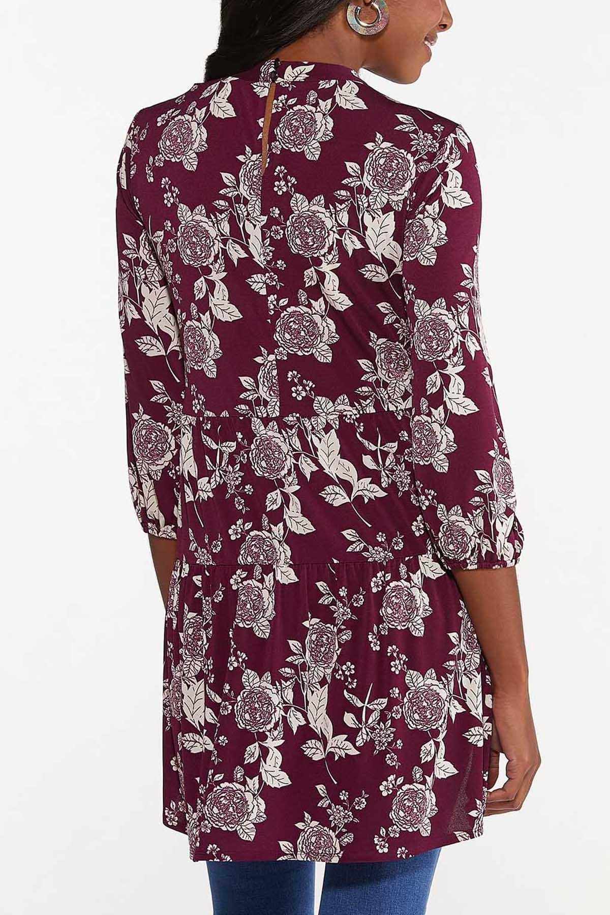 Plus Size Wine Floral High-Low Tunic (Item #44675744)
