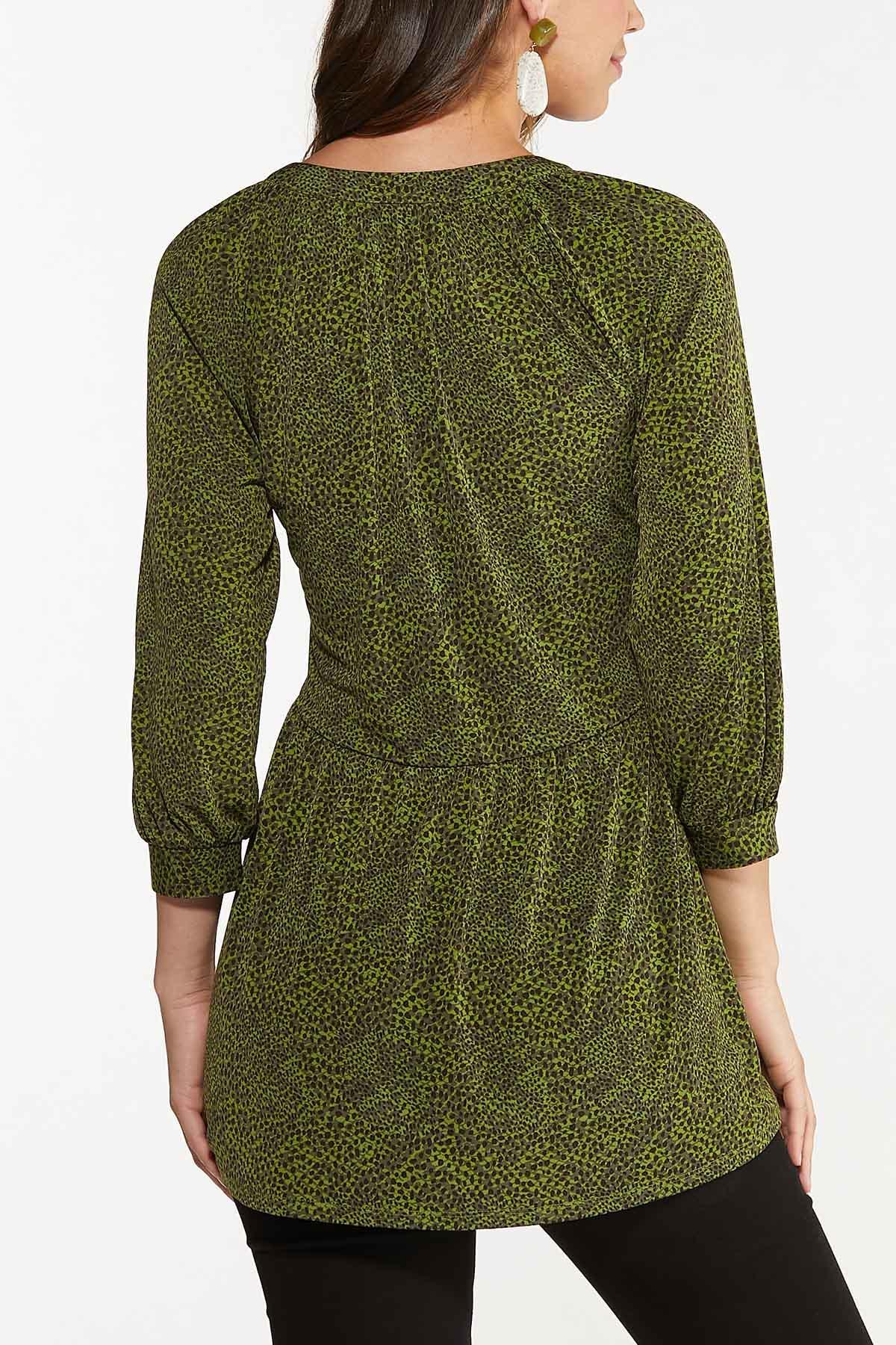 Green Animal Print Babydoll Tunic (Item #44675806)