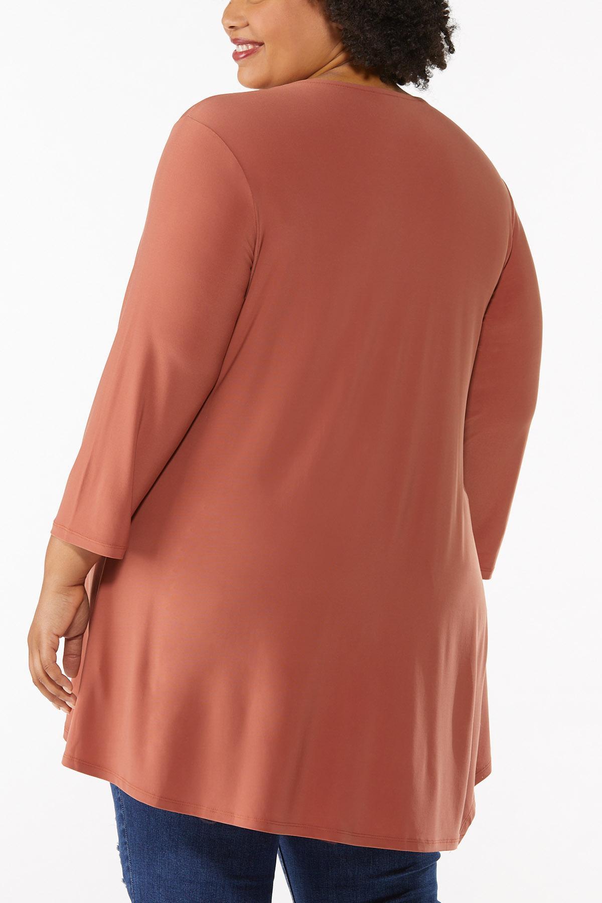 Plus Size Solid Asymmetrical Tunic (Item #44675863)