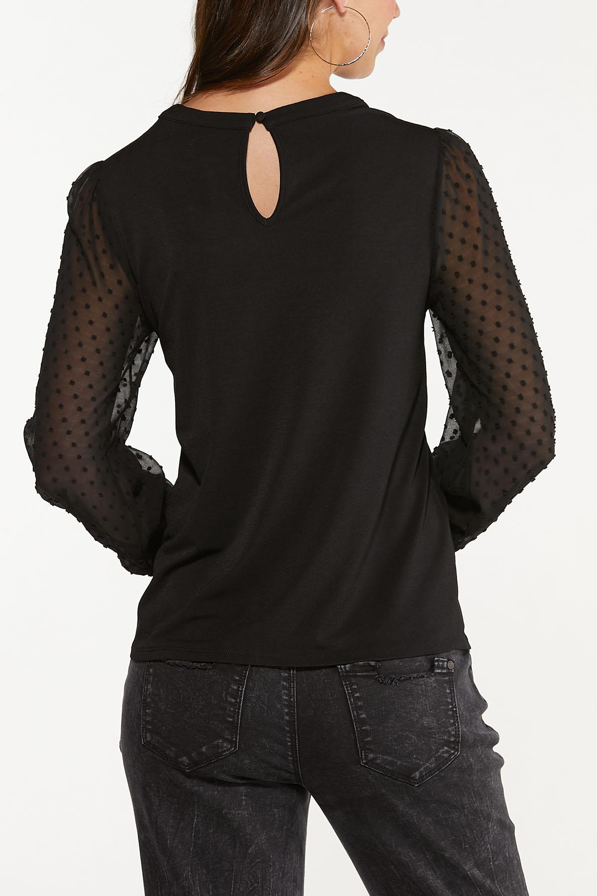 Plus Size Sheer Dotted Sleeve Top (Item #44675997)