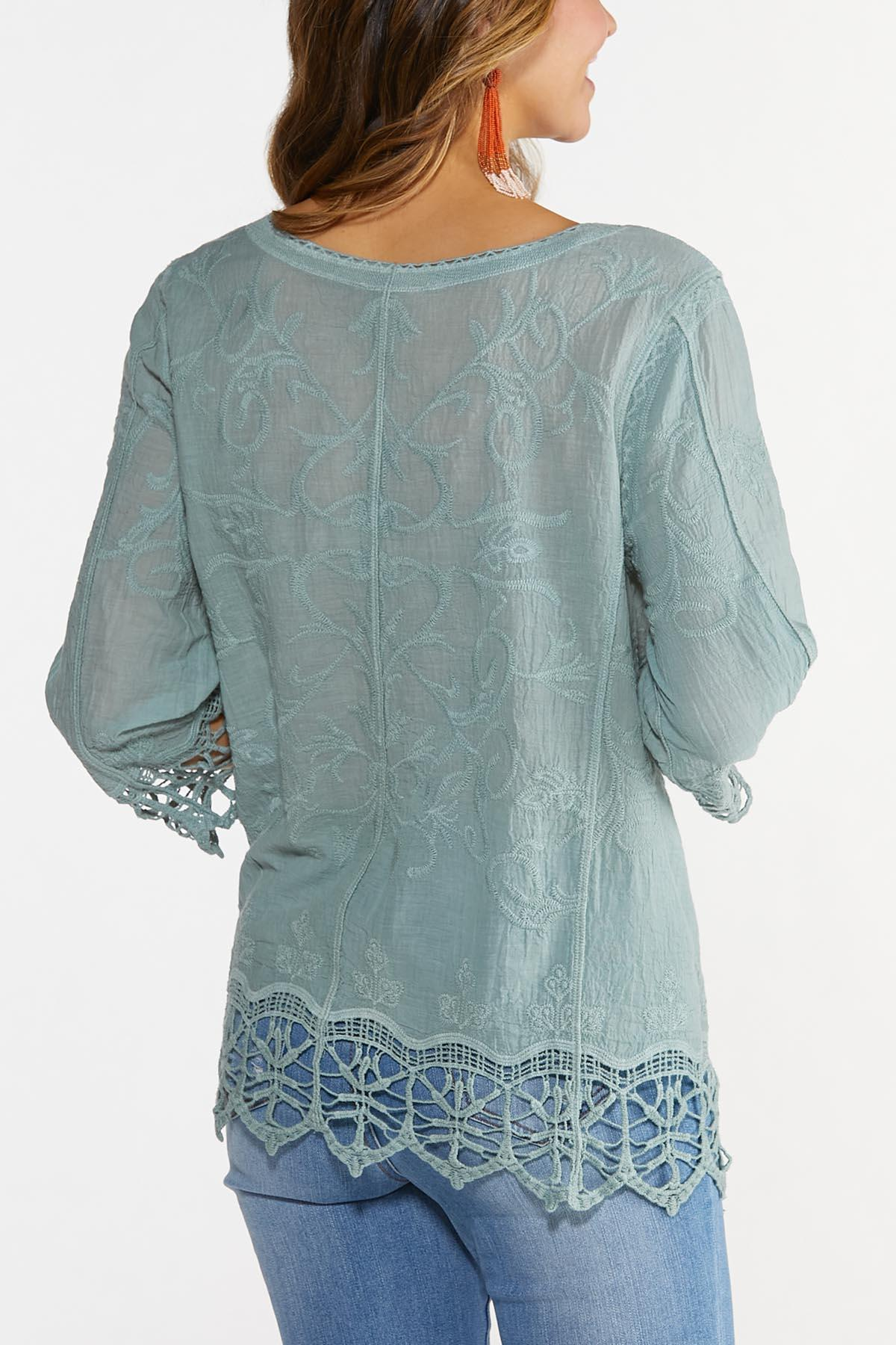 Embroidered Lace Up Top (Item #44676060)