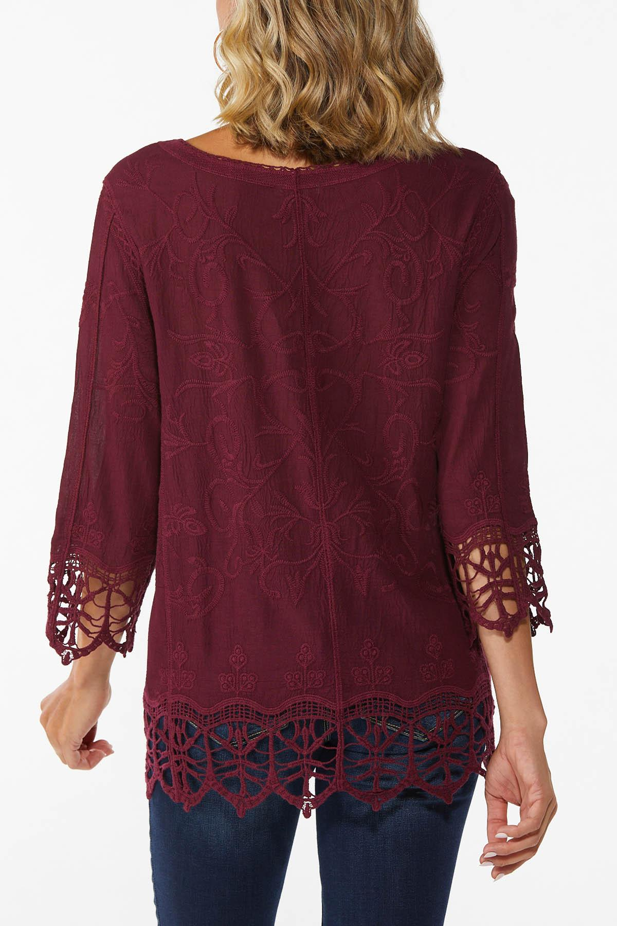 Plus Size Embroidered Lace Up Top (Item #44676071)