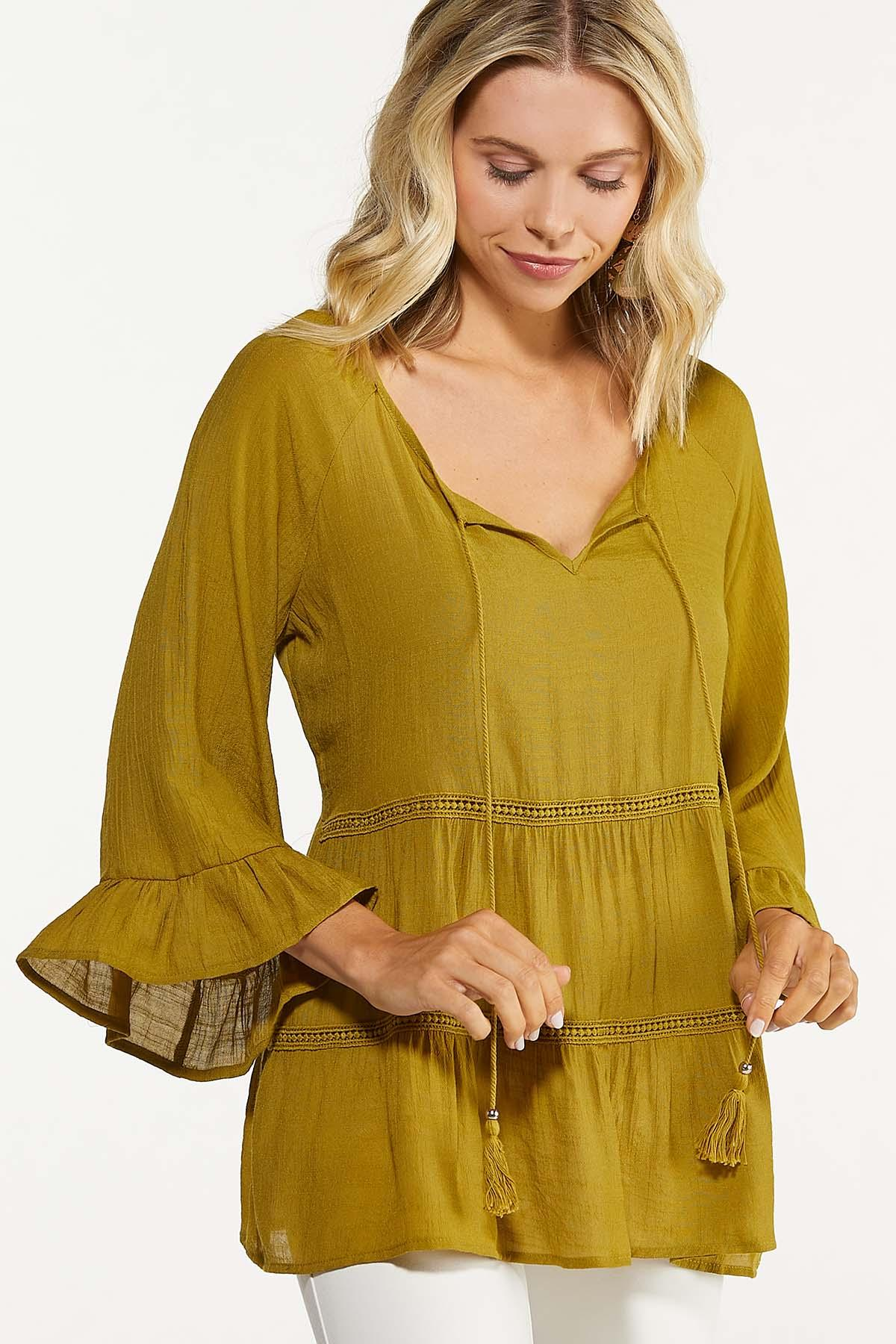 Plus Size Olive Tiered Poet Top (Item #44676276)