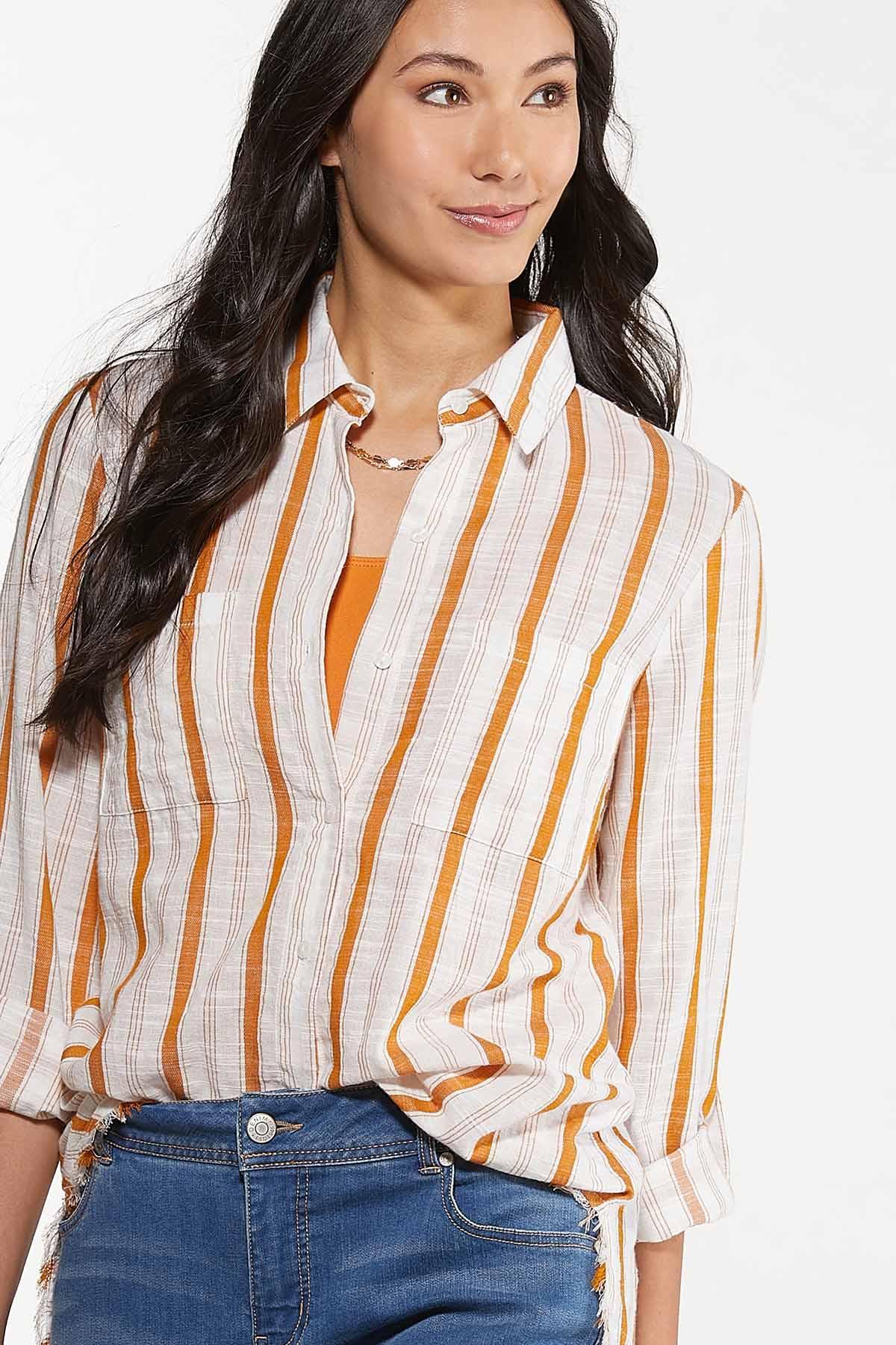 Plus Size Frayed Gold Stripe Tunic (Item #44676362)