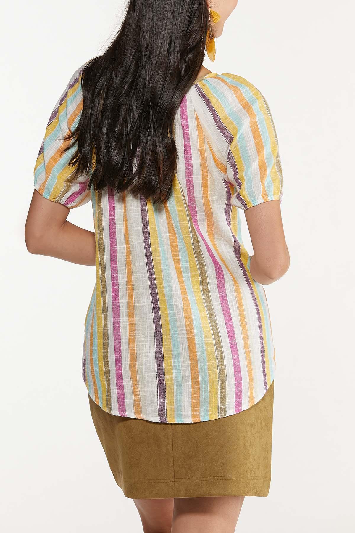 Plus Size Tasseled Multi Stripe Top (Item #44676391)