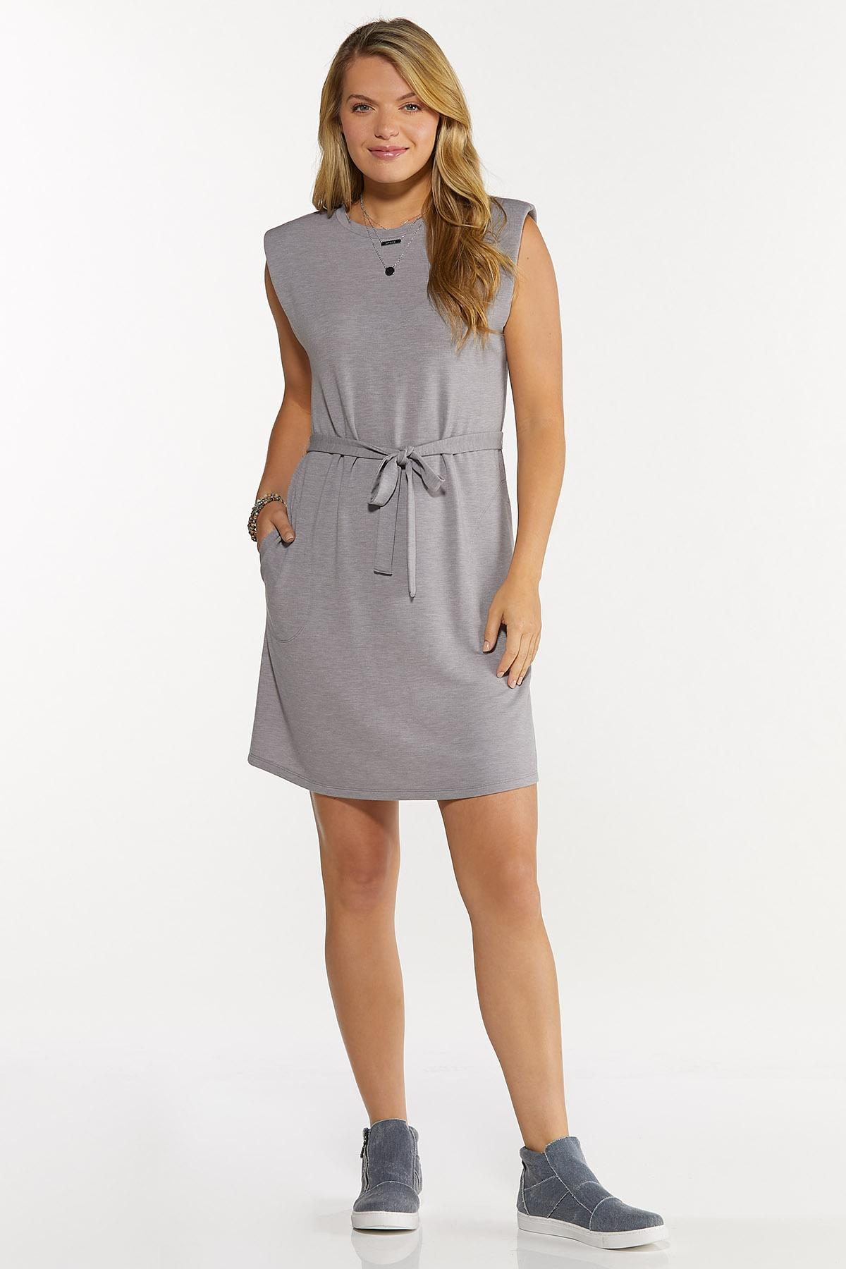 Belted Padded Shoulder Dress (Item #44677416)