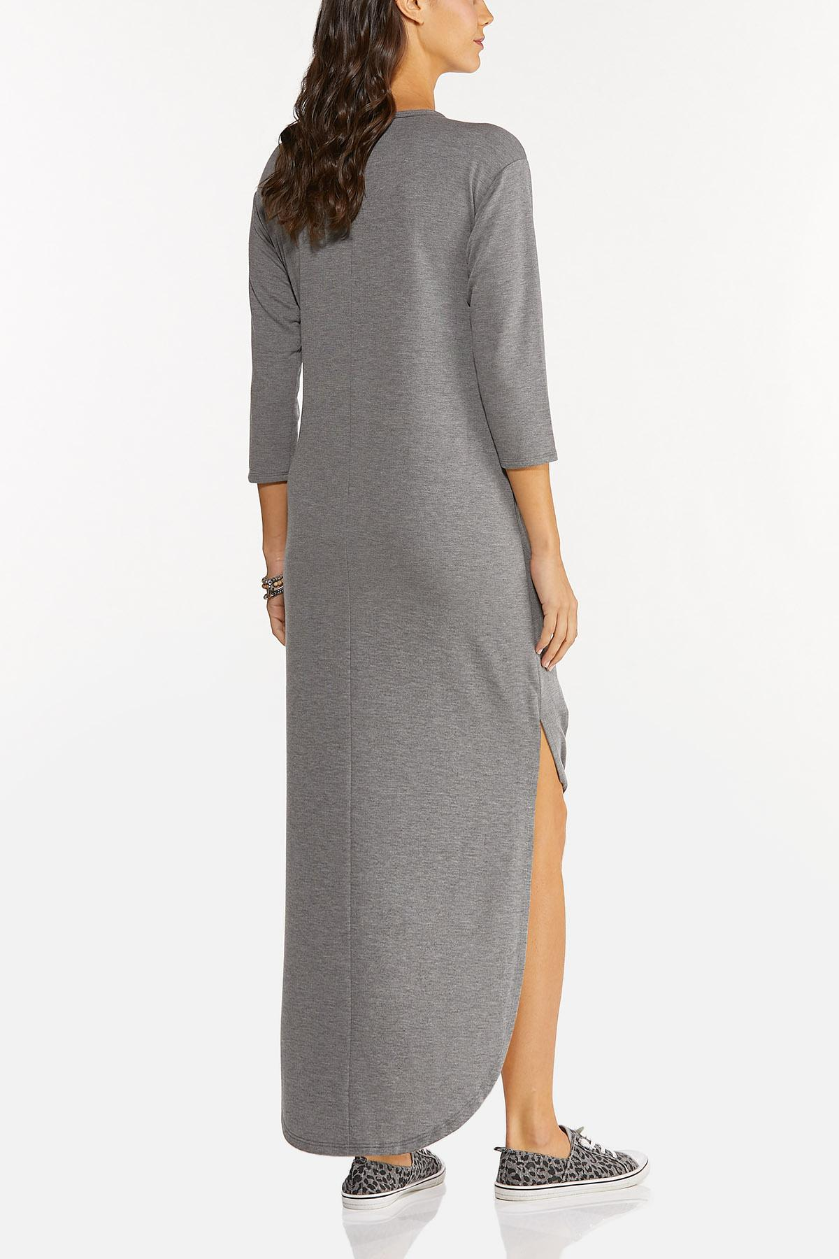 Plus Size Knotted French Terry Maxi Dress (Item #44678030)