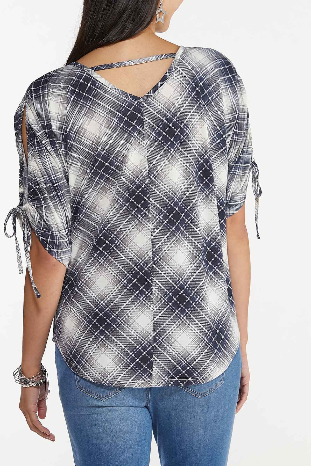 Plus Size Plaid Cold Shoulder Top (Item #44678053)