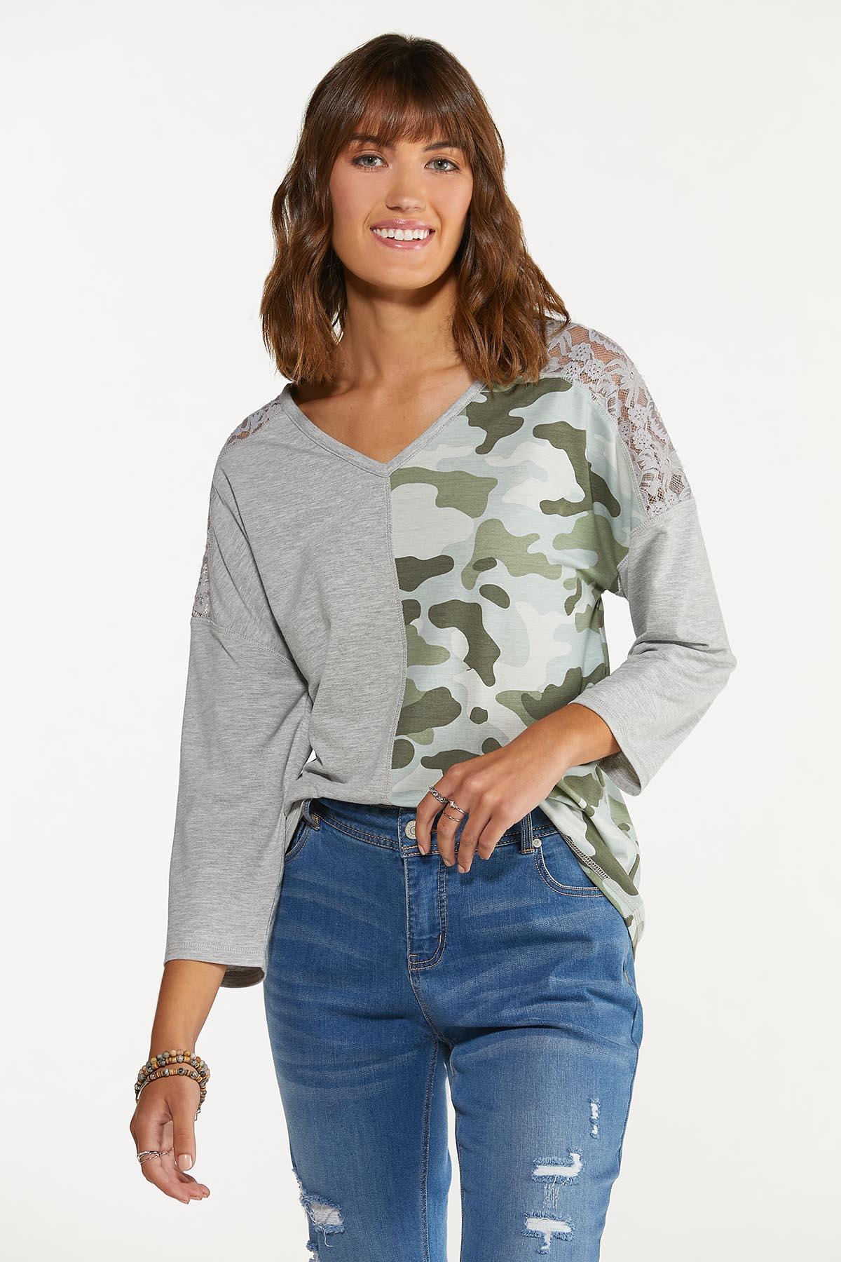 Plus Size Lacy Camo Colorblock Top (Item #44678121)