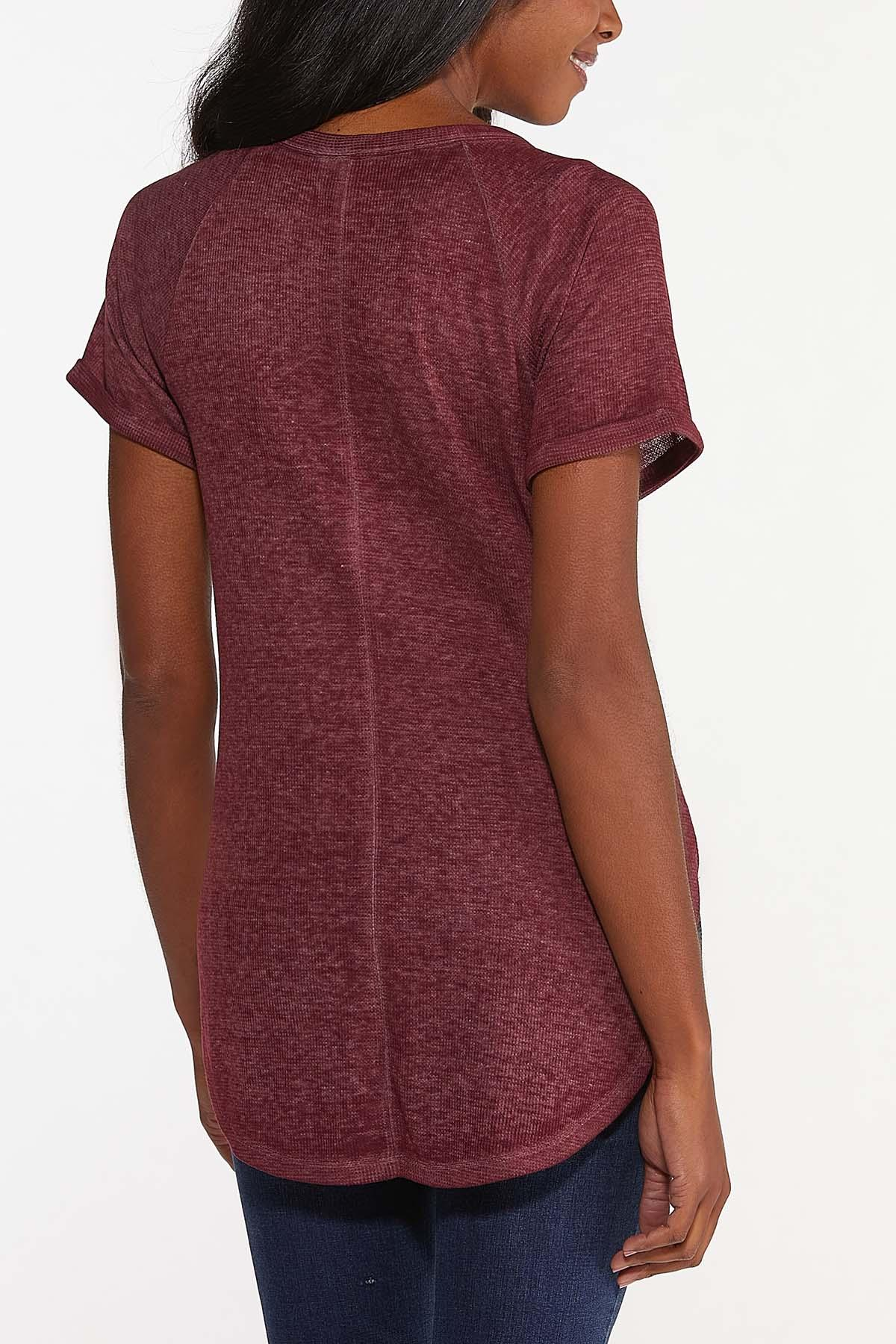 Plus Size Wine Tie Front Top (Item #44678214)