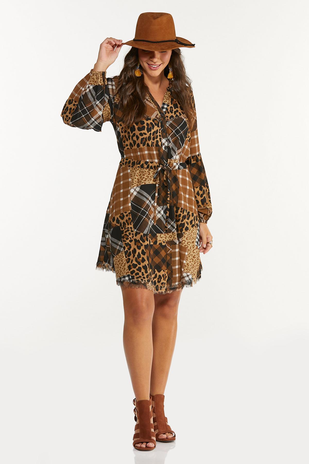 Plus Size Mixed Patchwork Shirt Dress (Item #44678500)