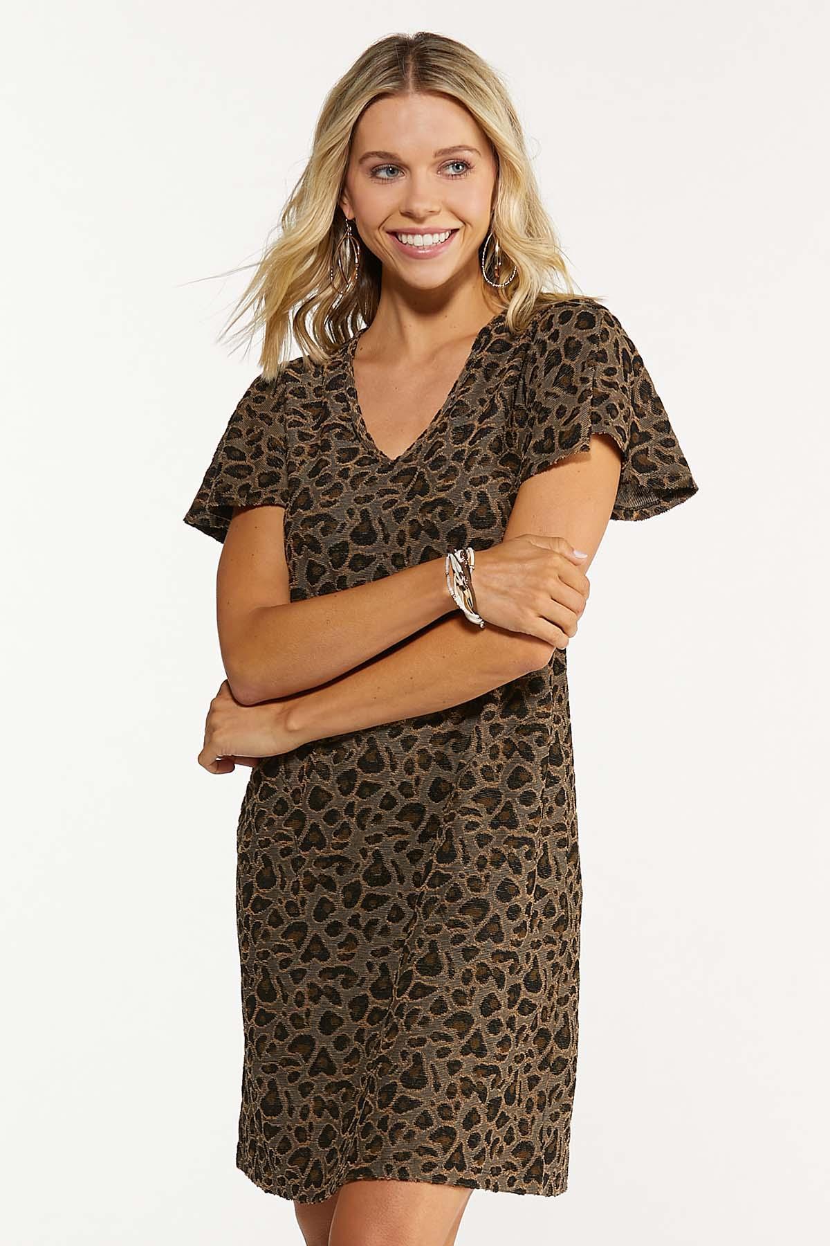 Plus Size Leopard Flutter Sleeve Dress (Item #44678813)