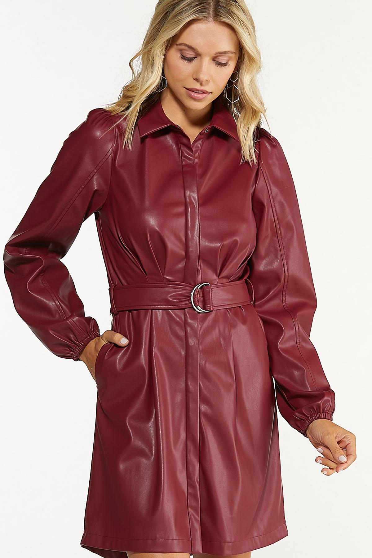 Faux Leather Shirt Dress (Item #44678977)