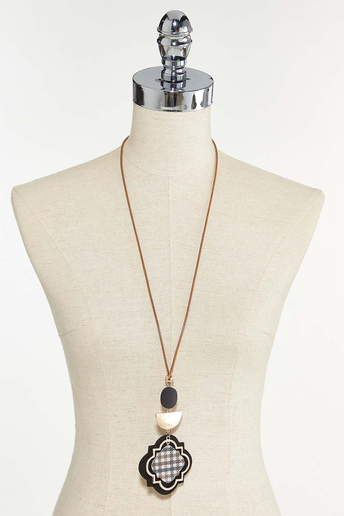 Faux Plaid Pendant Necklace (Item #44679531)