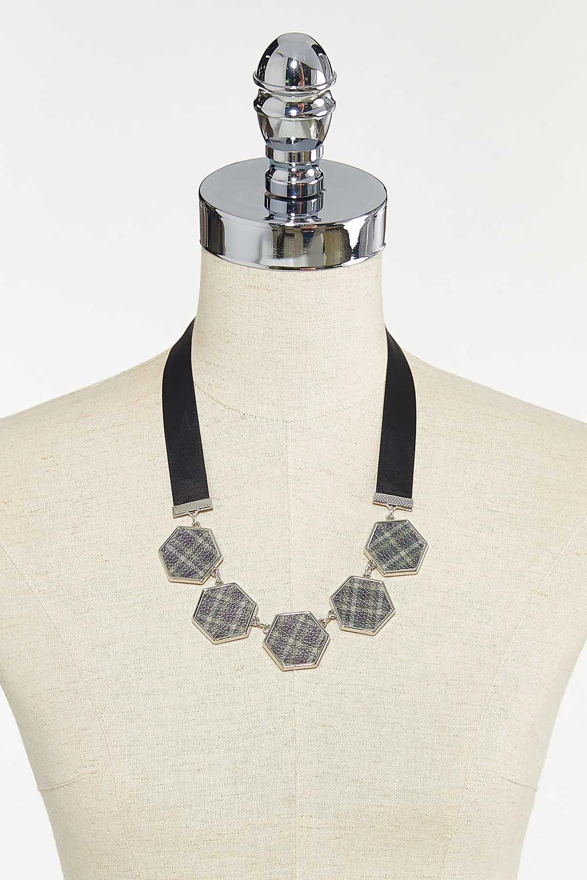 Hexagon Plaid Ribbon Necklace (Item #44679753)