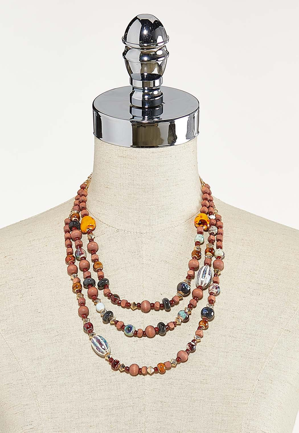 Layered Mixed Bead Necklace (Item #44679968)