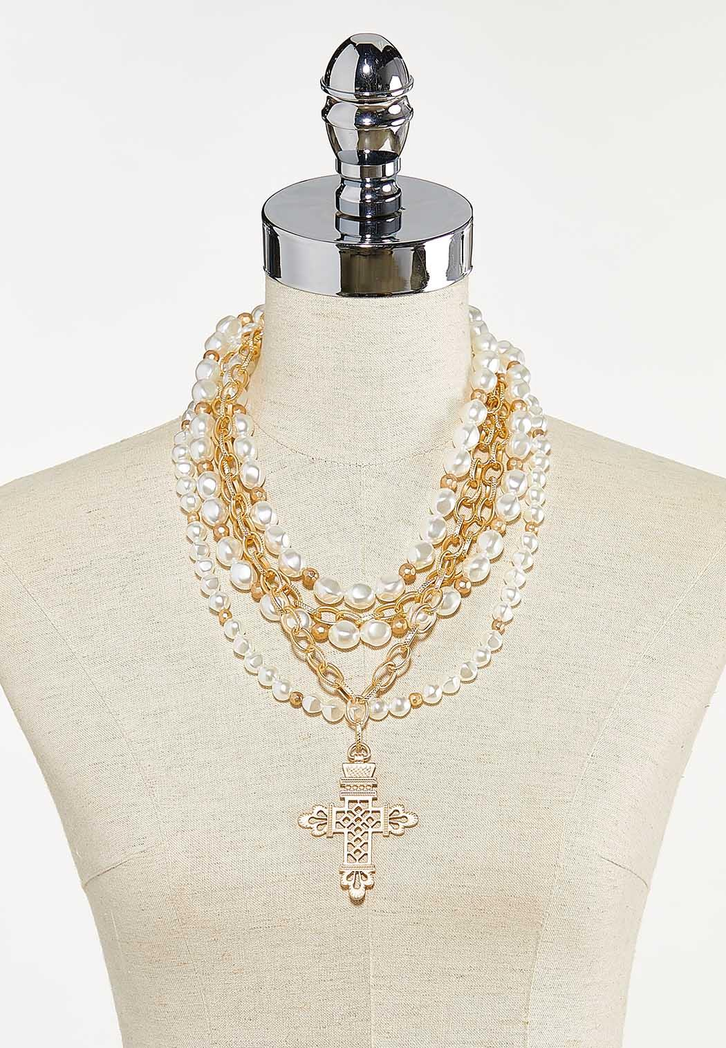 Layered Chunky Pearl Cross Necklace (Item #44680196)