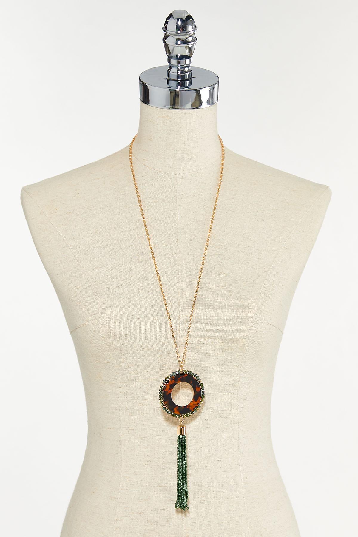 Bead Tasseled Tort Pendant Necklace (Item #44680344)