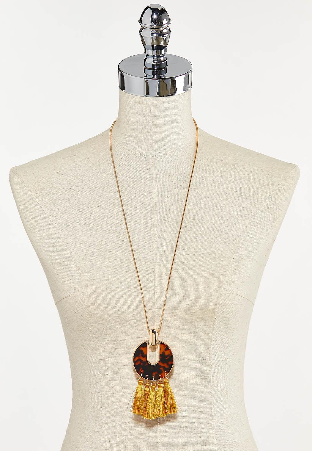 Gold Tasseled Pendant Necklace (Item #44680357)