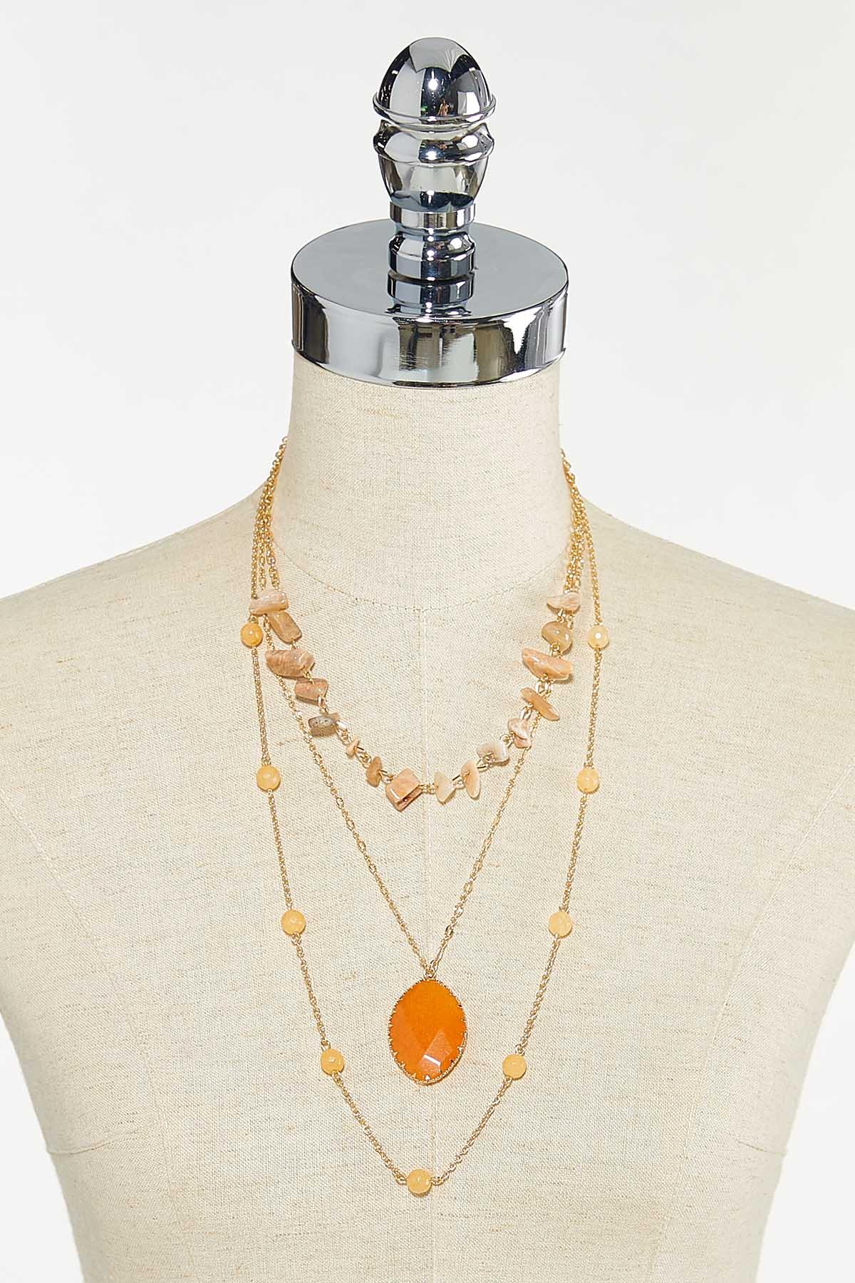 Delicate Layered Stone Necklace (Item #44680378)