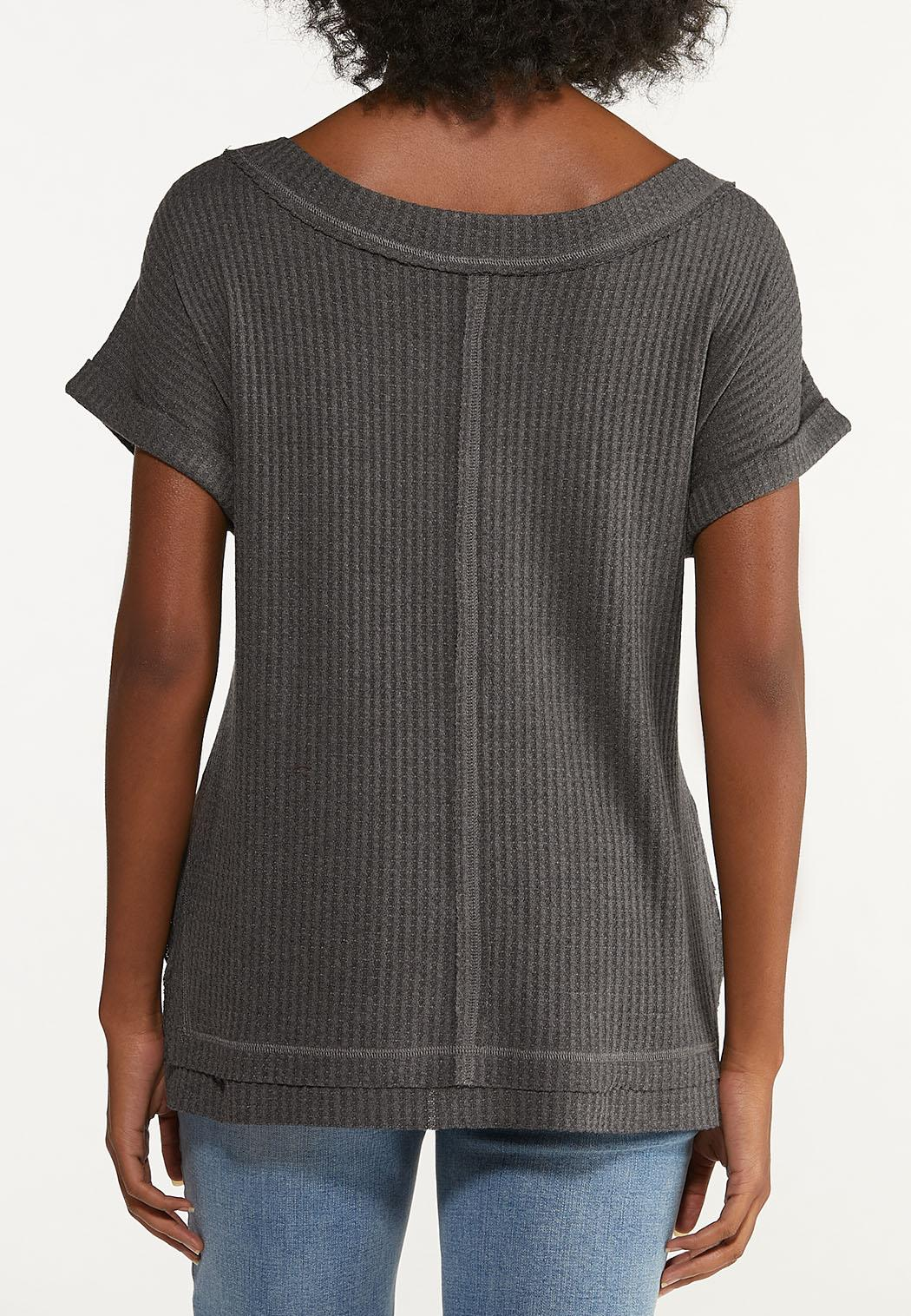 Plus Size Slouched Waffle Top (Item #44680833)