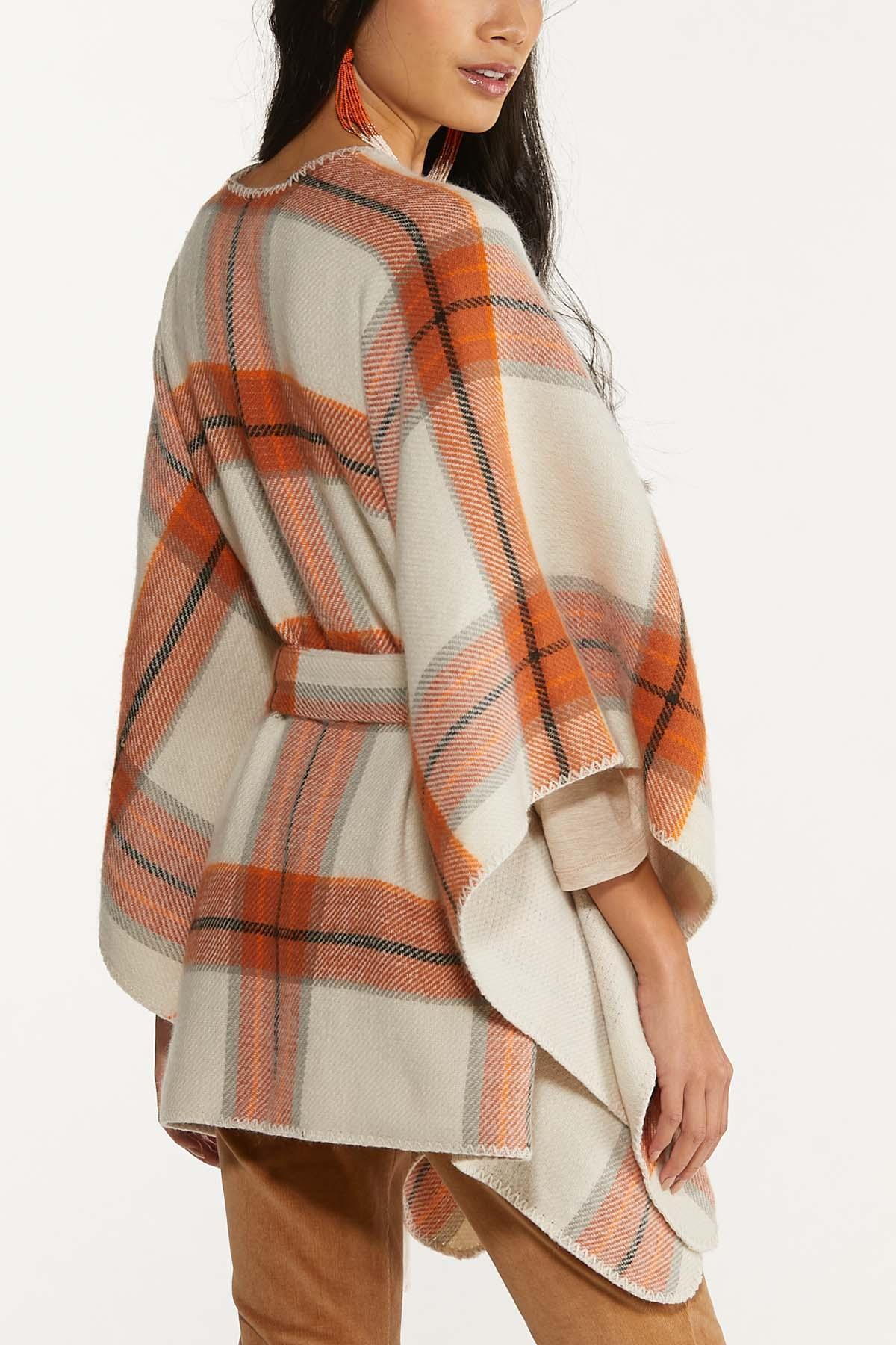 Plaid Belted Poncho (Item #44681385)