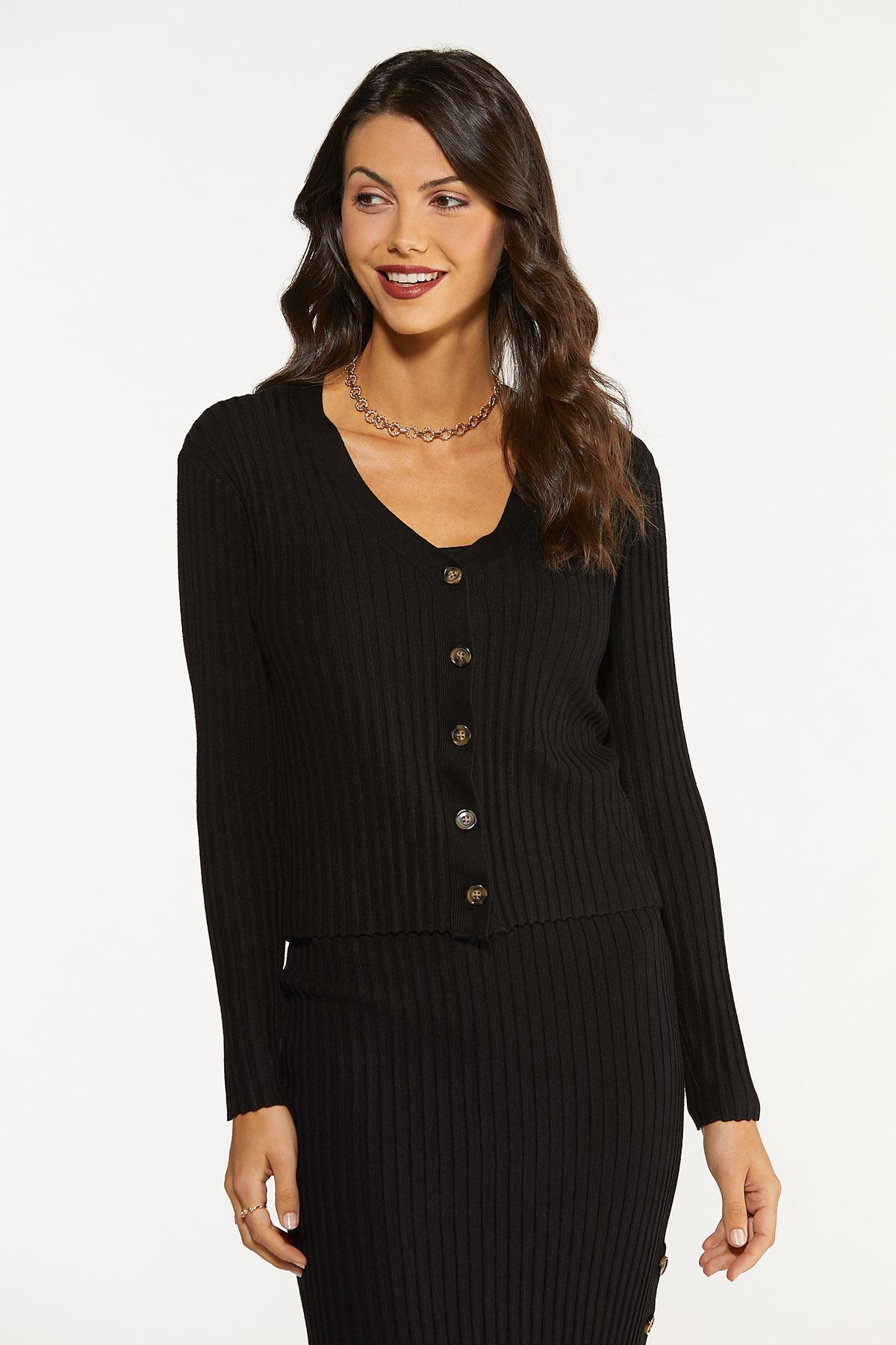 Ribbed Button Front Sweater (Item #44681682)