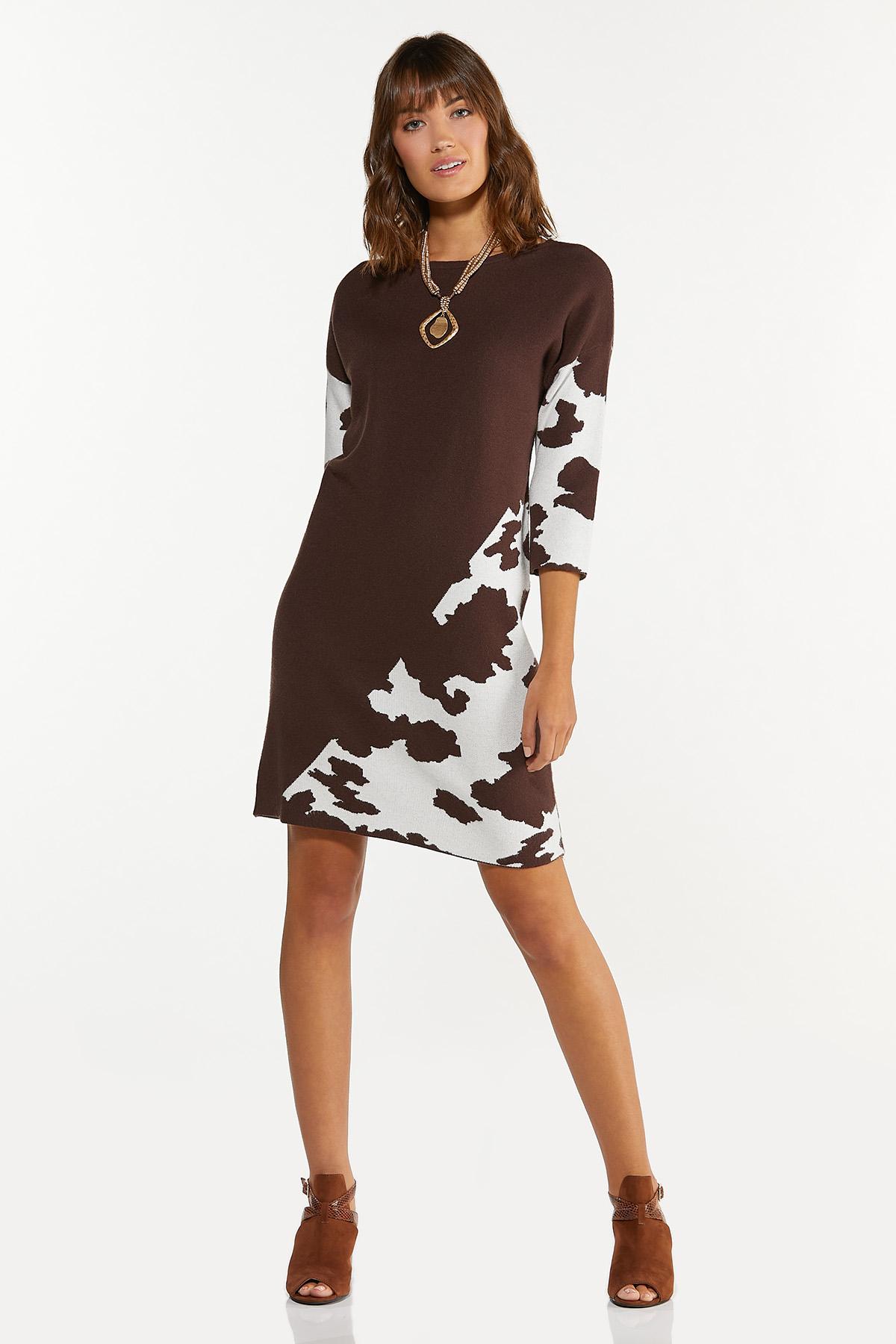 Plus Size Animal Colorblock Shift Dress (Item #44682135)