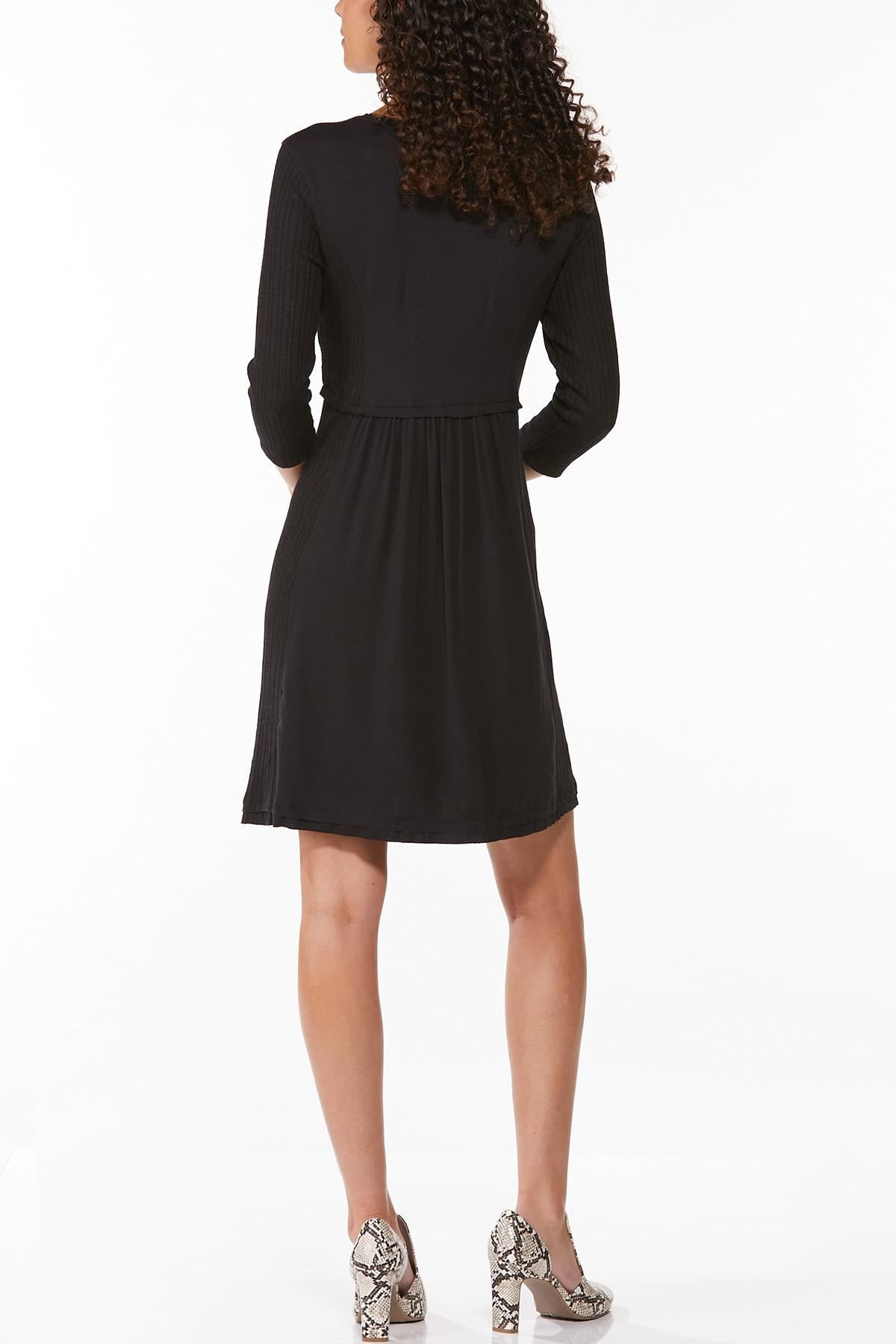 Solid Ribbed Babydoll Dress (Item #44682189)