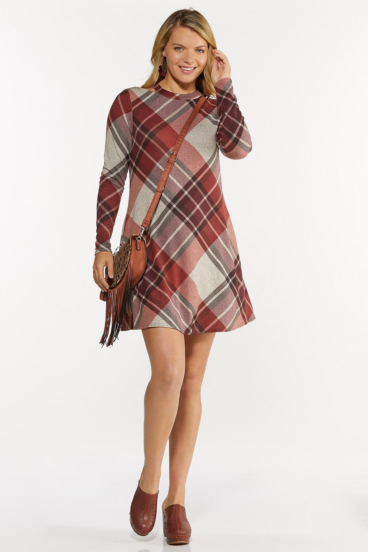 Plus Size Cutout Plaid Swing Dress (Item #44682251)