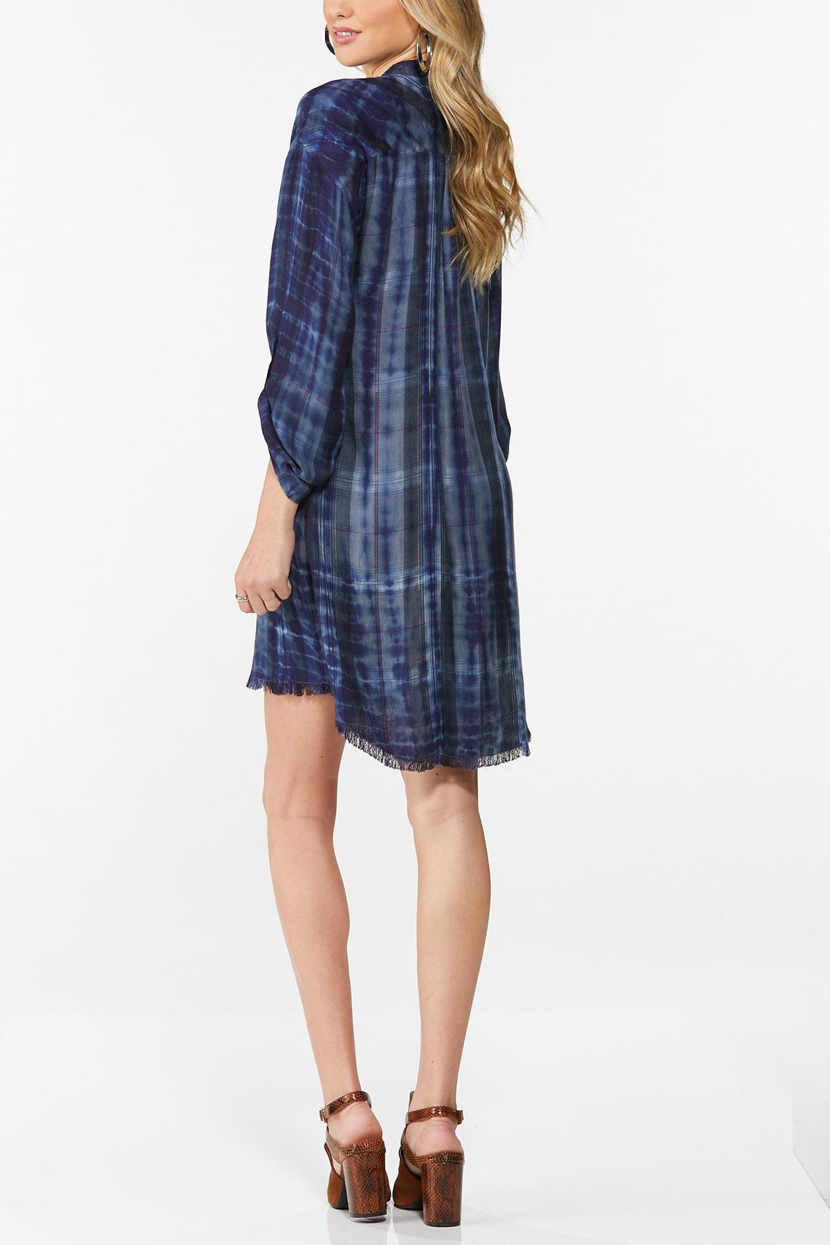 Ombre Plaid Shirt Dress (Item #44682271)