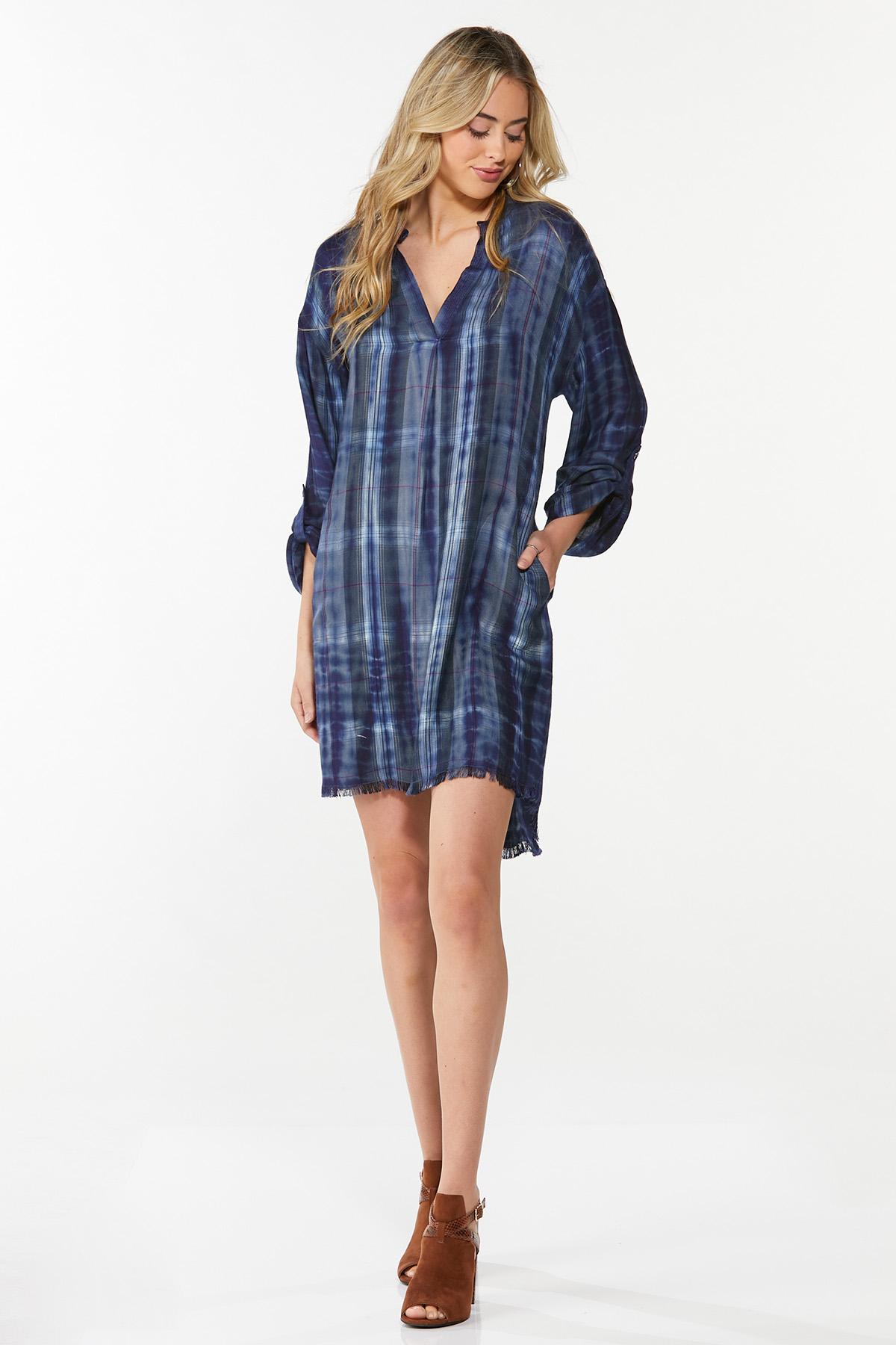 Plus Size Ombre Plaid Shirt Dress (Item #44682320)