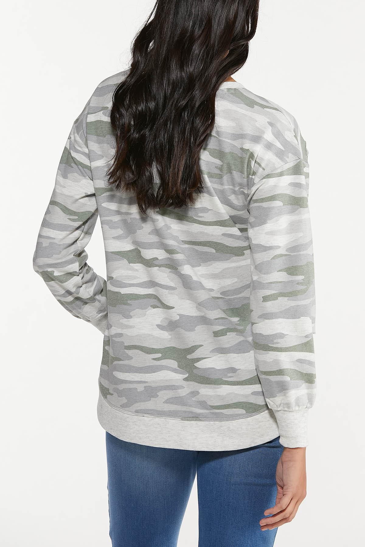 Plus Size Distressed Camo Sweatshirt (Item #44682321)