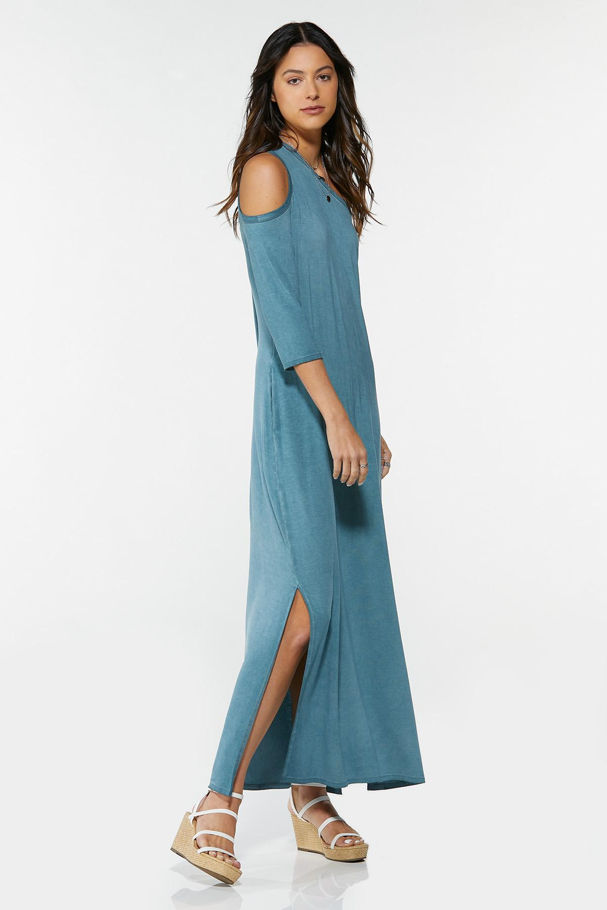 Plus Size Asymmetrical Cold Shoulder Dress (Item #44682451)