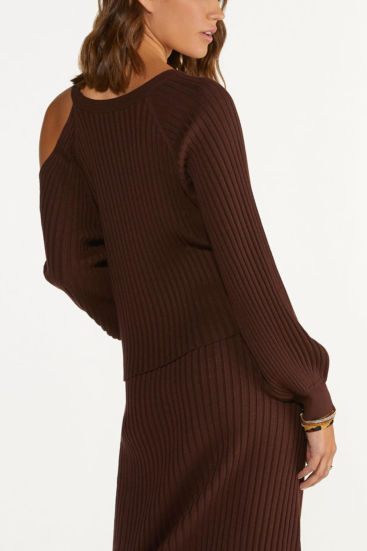Plus Size Ribbed Cutout Shoulder Sweater (Item #44682478)