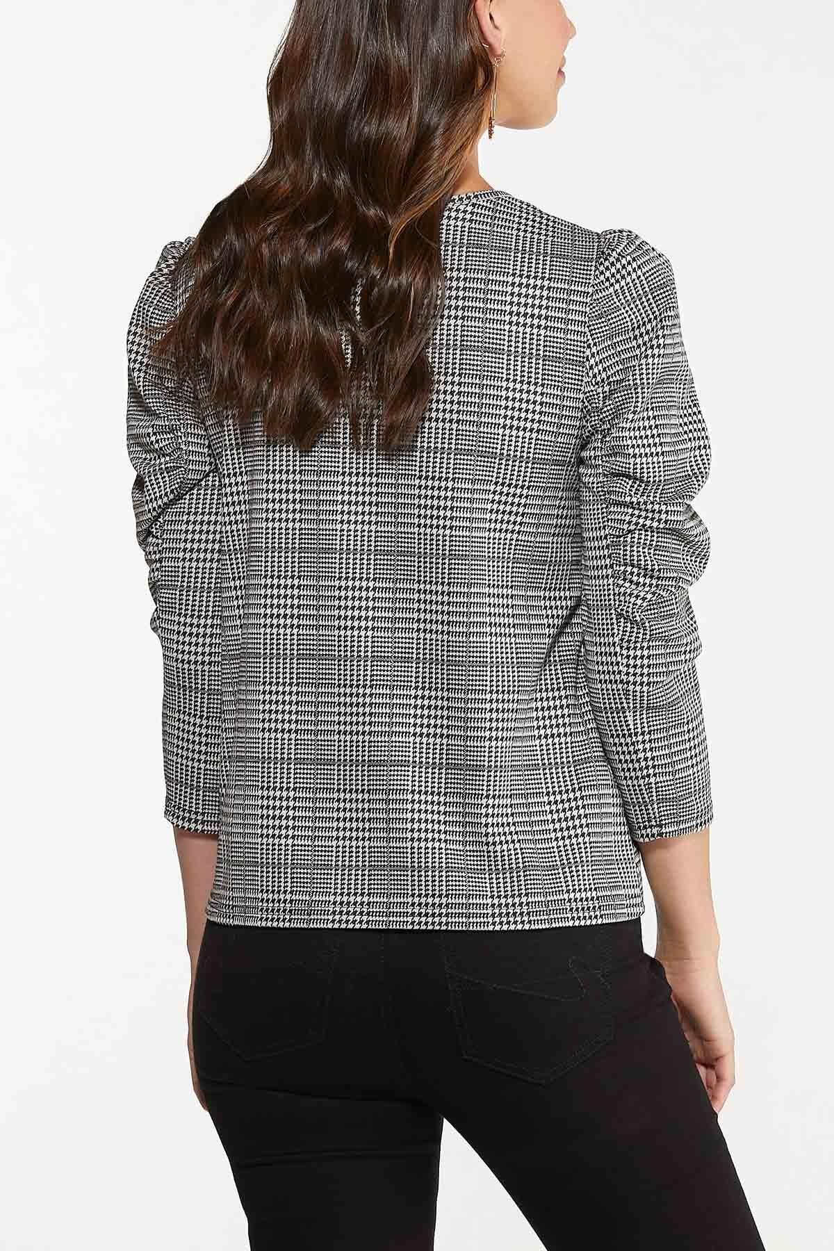 Plus Size Houndstooth Puff Sleeve Top (Item #44683990)