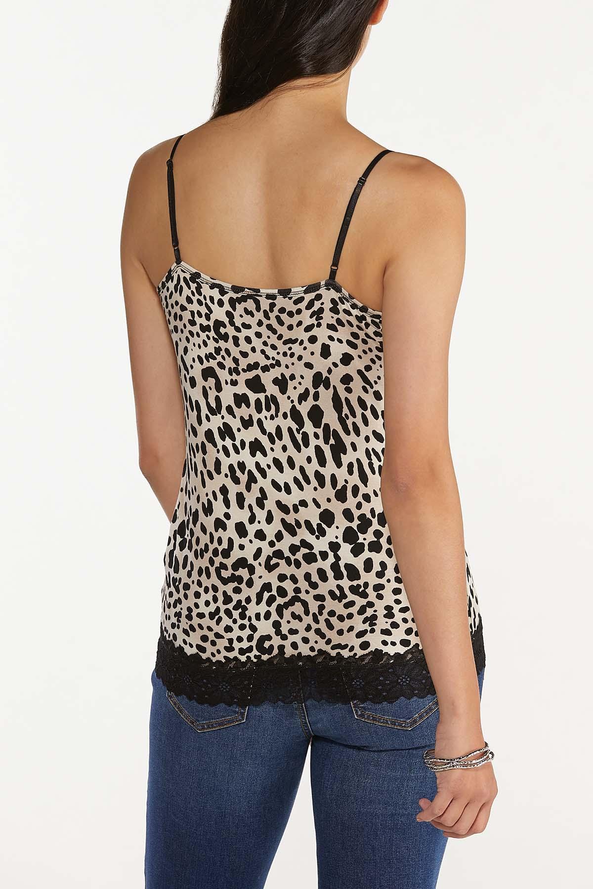 Plus Size Leopard Lace Trim Cami (Item #44685362)