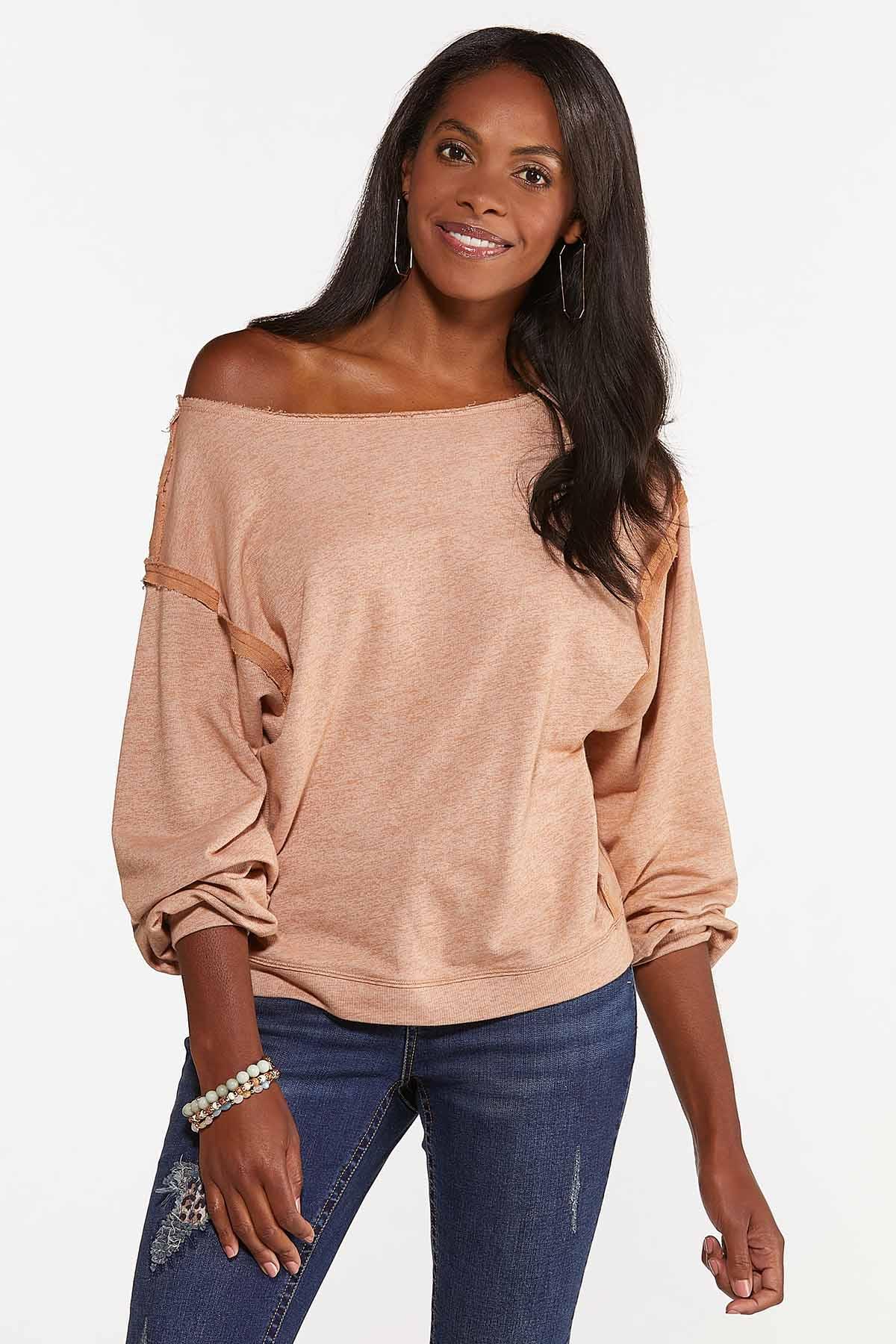 Plus Size Raw Edge Sweatshirt (Item #44685961)