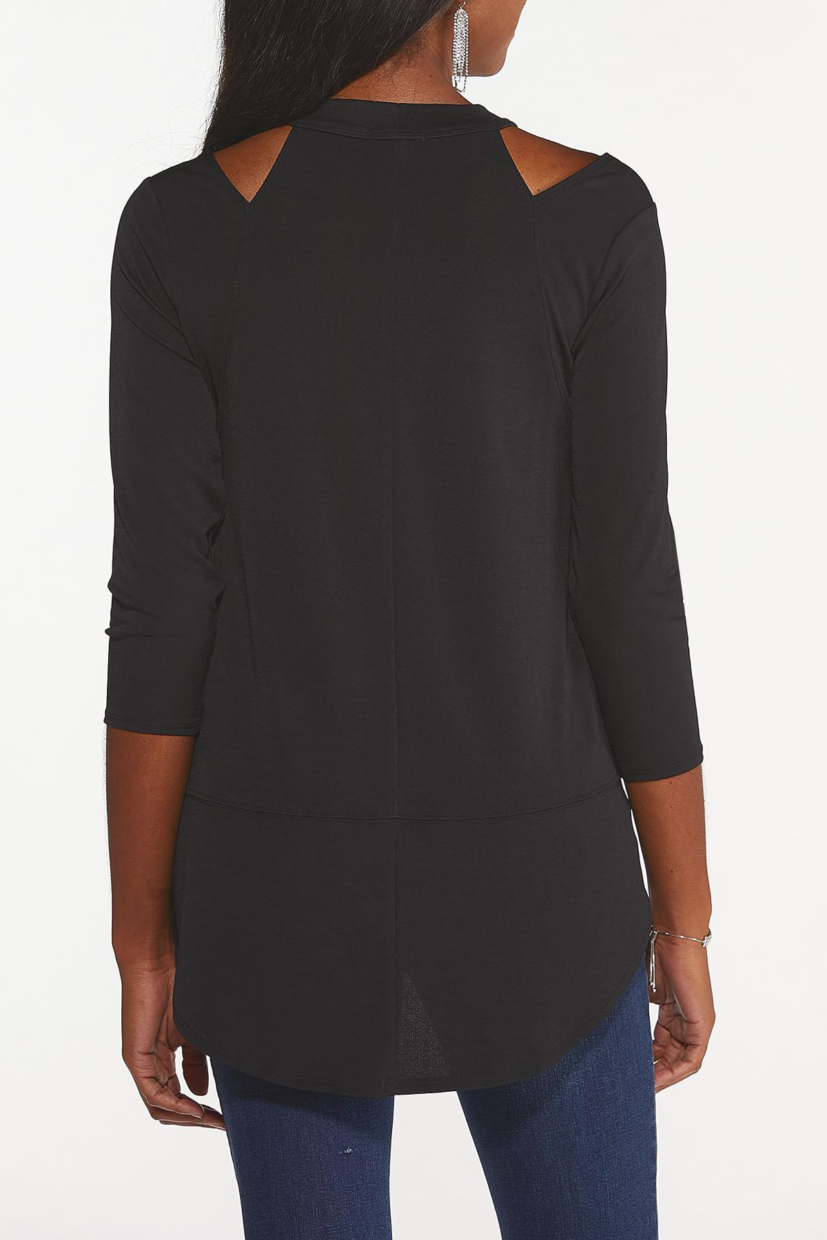 Plus Size Cutout Mock Neck Top (Item #44686781)