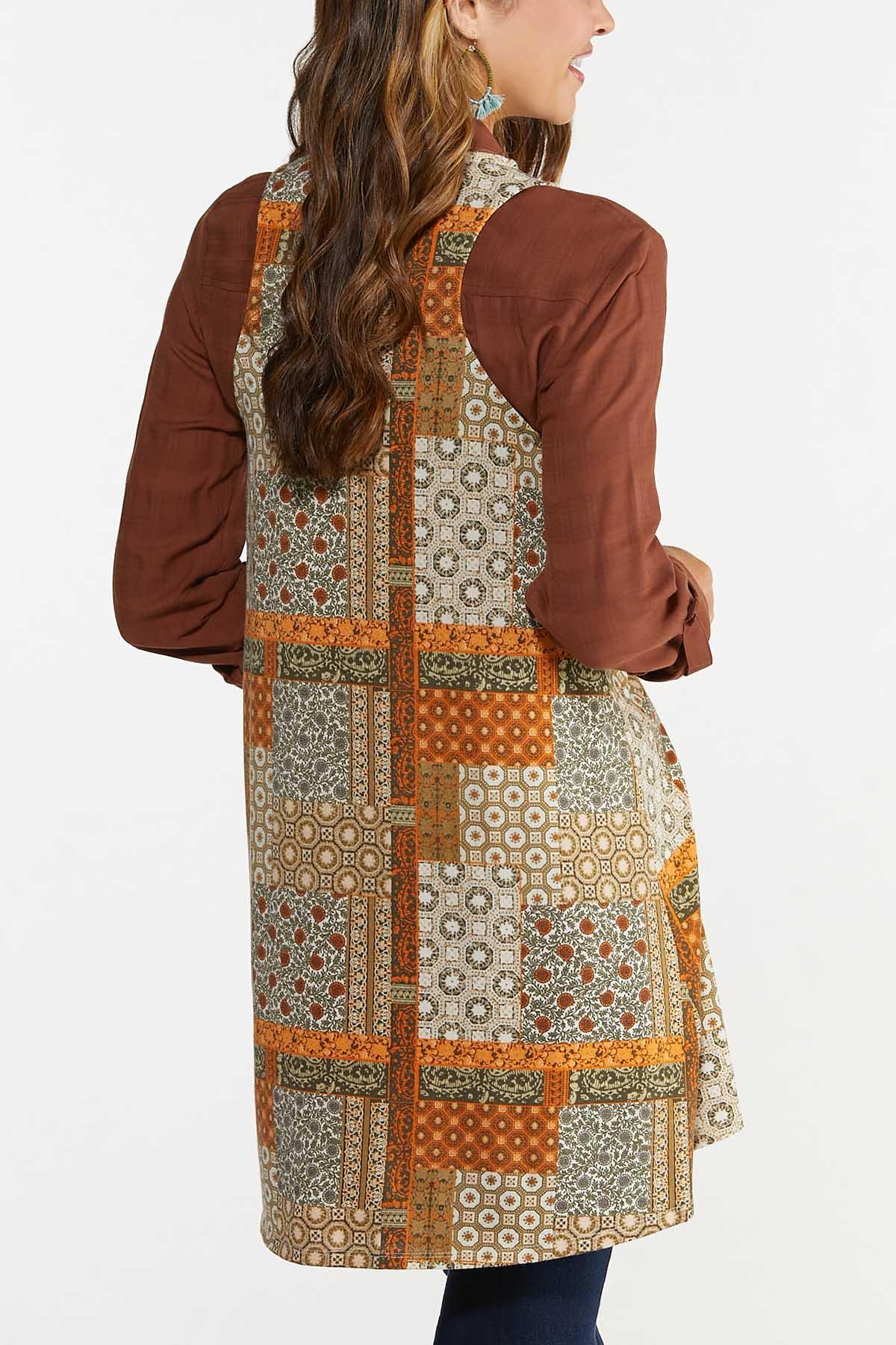 Plus Size Patchwork Hacci Vest (Item #44686863)