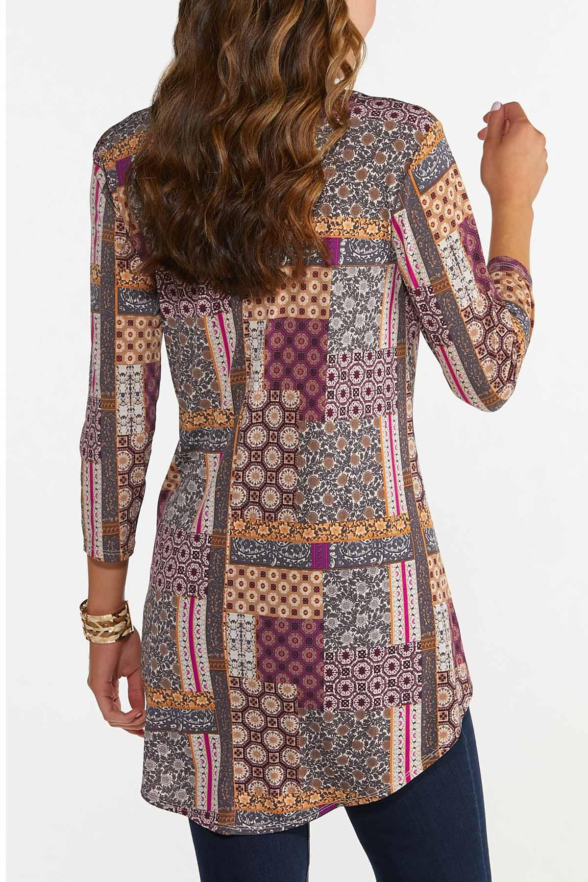 Plus Size High-Low Patchwork Tunic (Item #44686885)