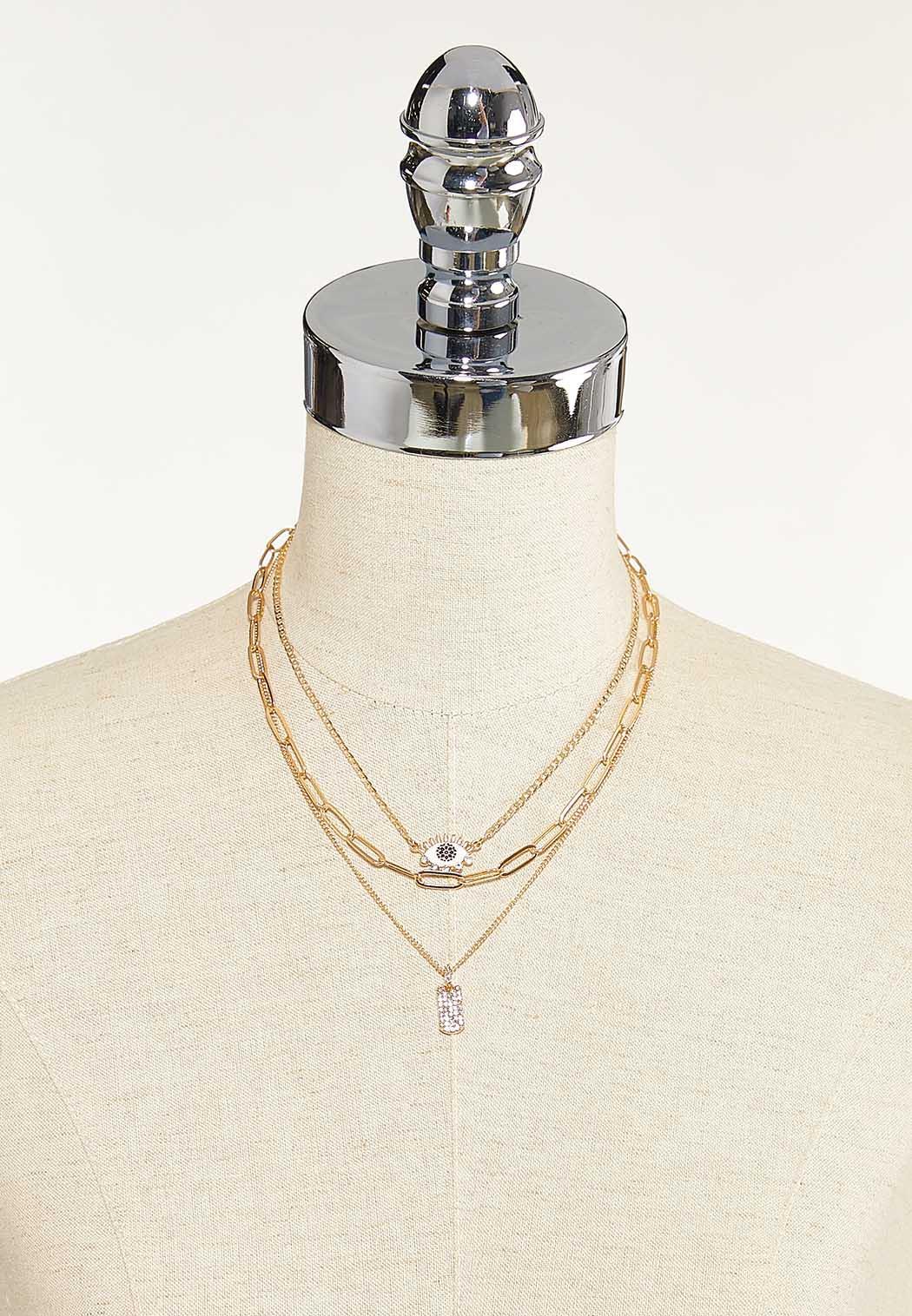 Layered Eyelash Charm Necklace (Item #44687660)