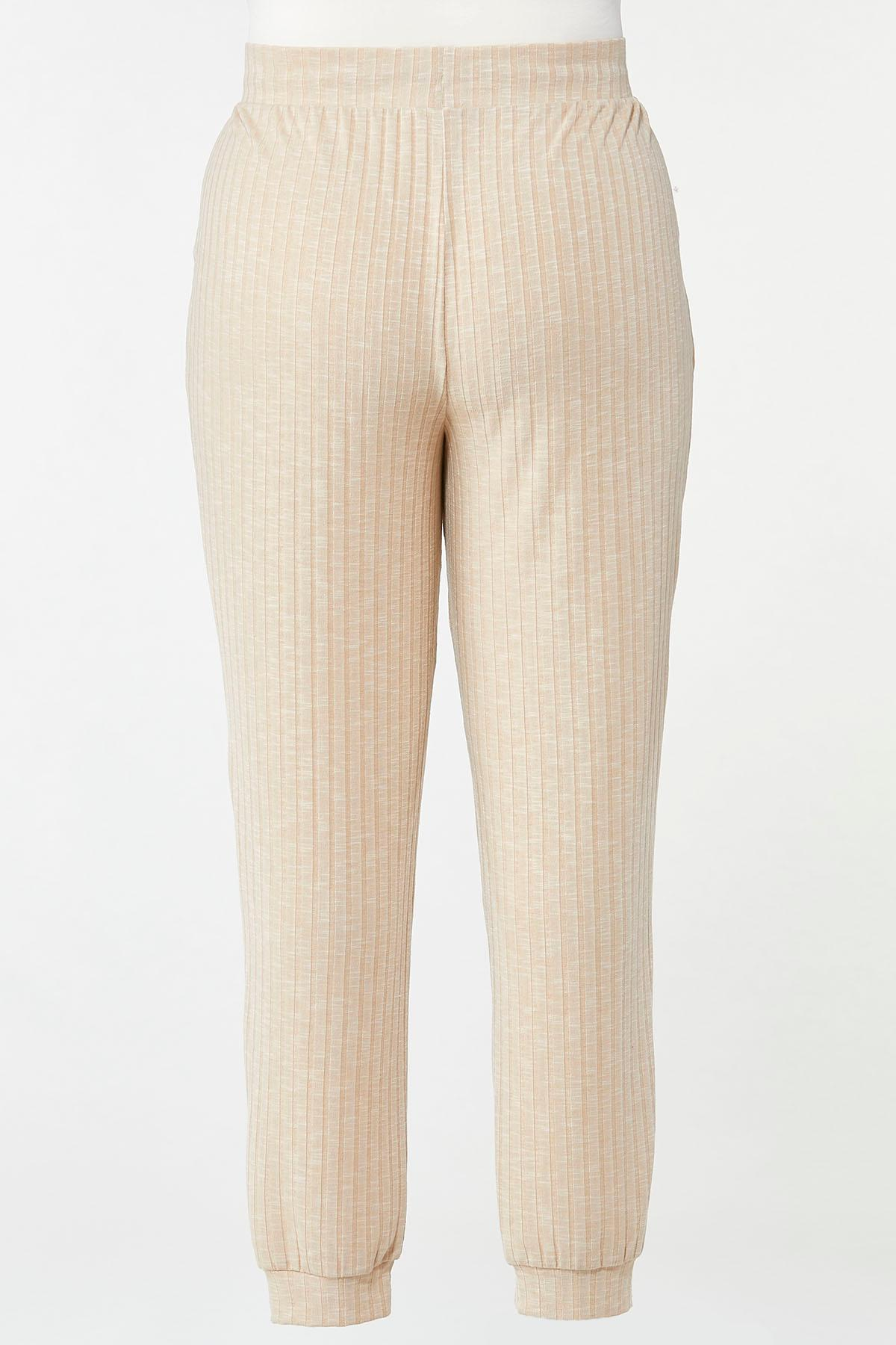 Plus Size Oatmeal Ribbed Joggers (Item #44688312)
