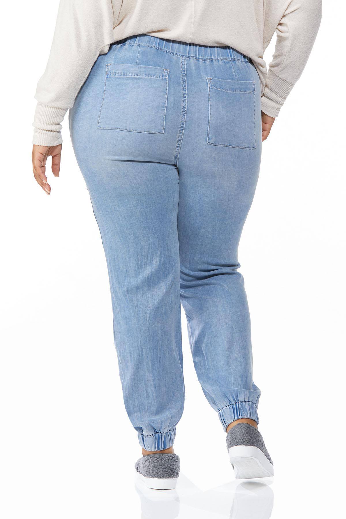 Plus Size Chambray Joggers (Item #44688326)